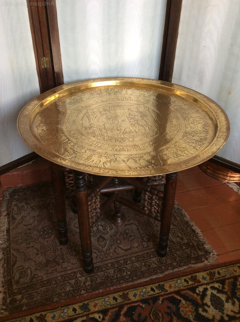 Benares Brass Top Coffee Table – Antiques Atlas Inside Most Popular Antique Brass Coffee Tables (View 6 of 20)