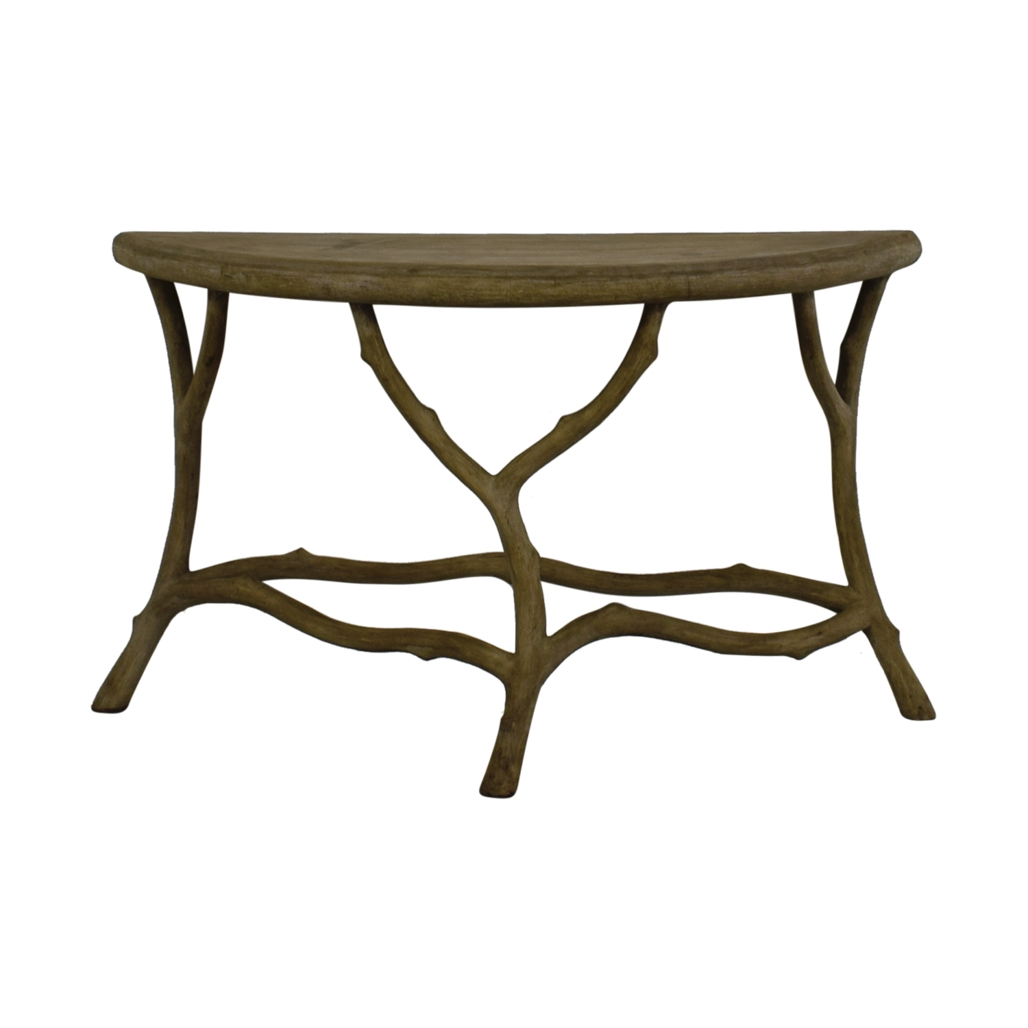 [%Best And Newest Faux Bois Coffee Tables Regarding 90% Off – Horchow Horchow Grey Faux Bois Half Table / Tables|90% Off – Horchow Horchow Grey Faux Bois Half Table / Tables Regarding Well Known Faux Bois Coffee Tables%] (View 1 of 20)
