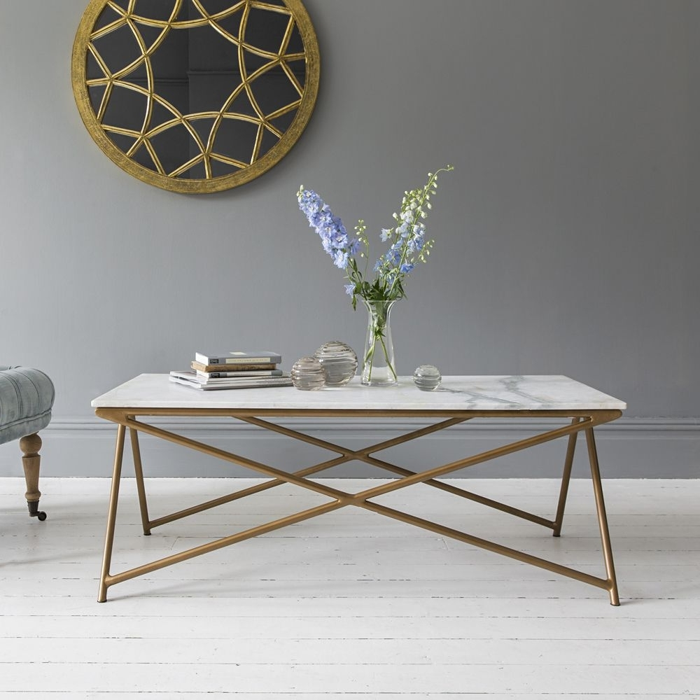 Best And Newest Iron Marble Coffee Tables Regarding Stellar White Marble Coffee Table (View 11 of 20)