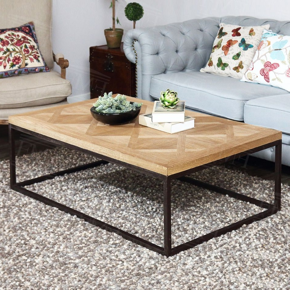 Best And Newest Iron Wood Coffee Tables With Wheels Pertaining To Wrought Iron Coffee Table With Wood Top (View 17 of 20)
