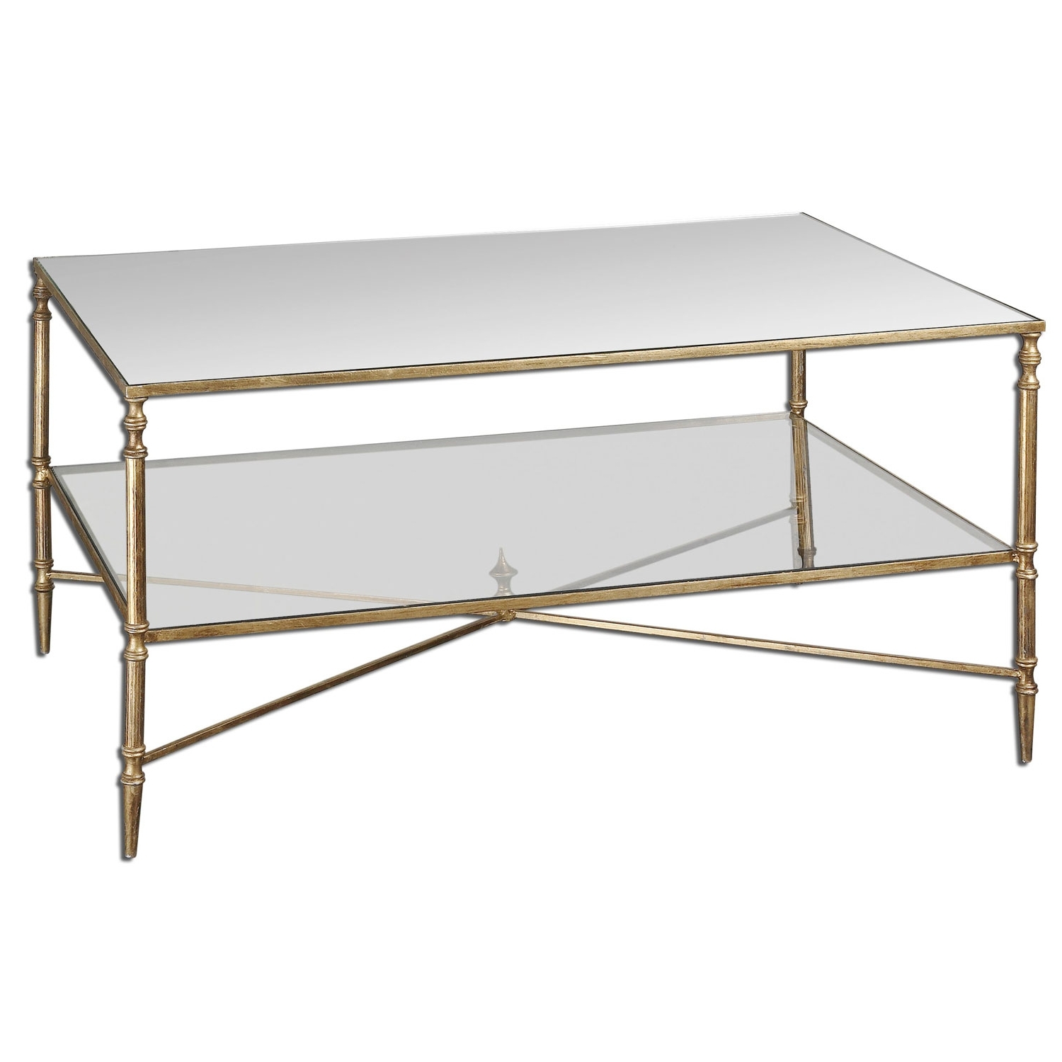 Best And Newest Rectangular Coffee Tables With Brass Legs For Uttermost Gold Henzler Coffee Table  (View 2 of 20)