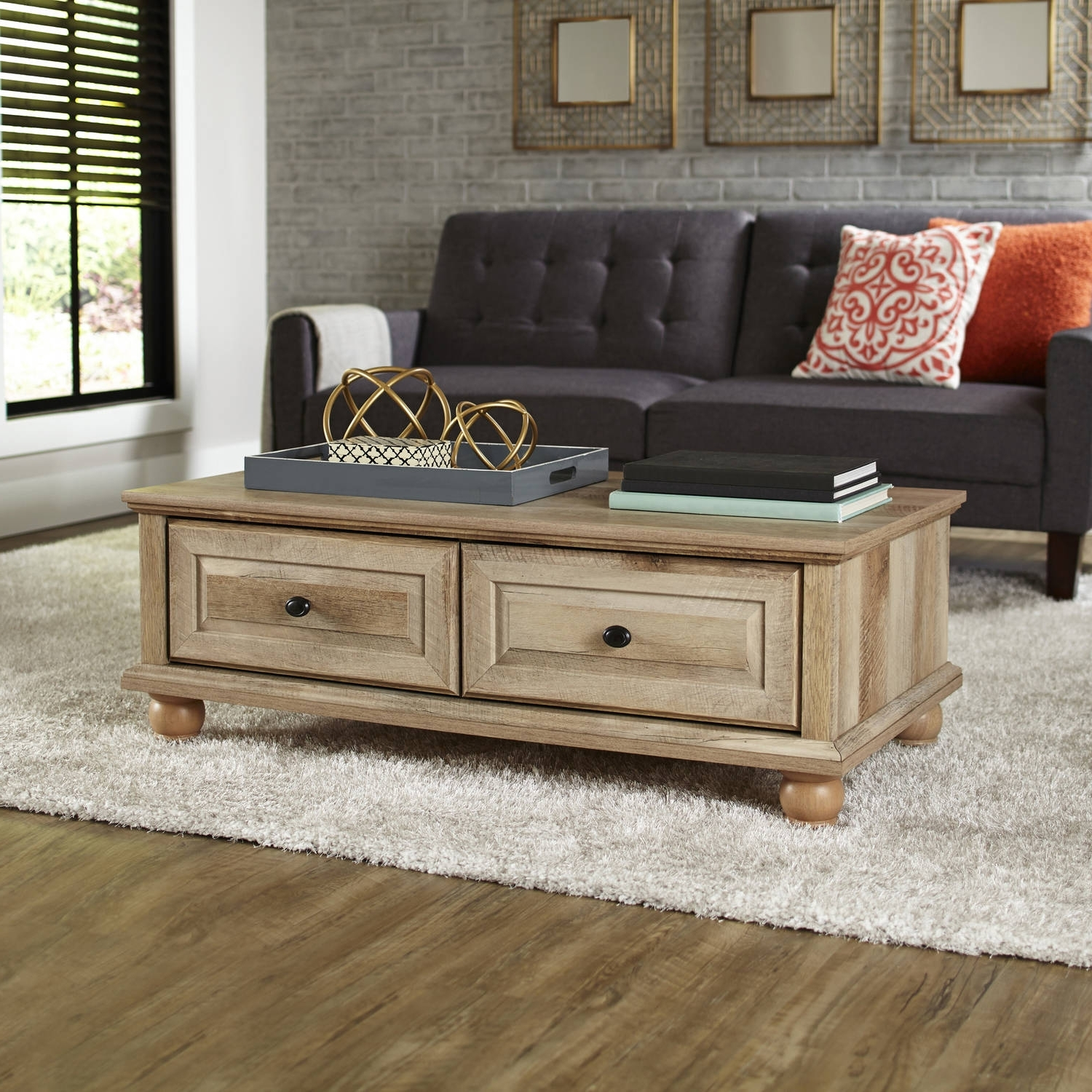 Better Homes And Gardens Crossmill Coffee Table, Multiple Finishes Pertaining To Widely Used Mill Large Leather Coffee Tables (View 4 of 20)