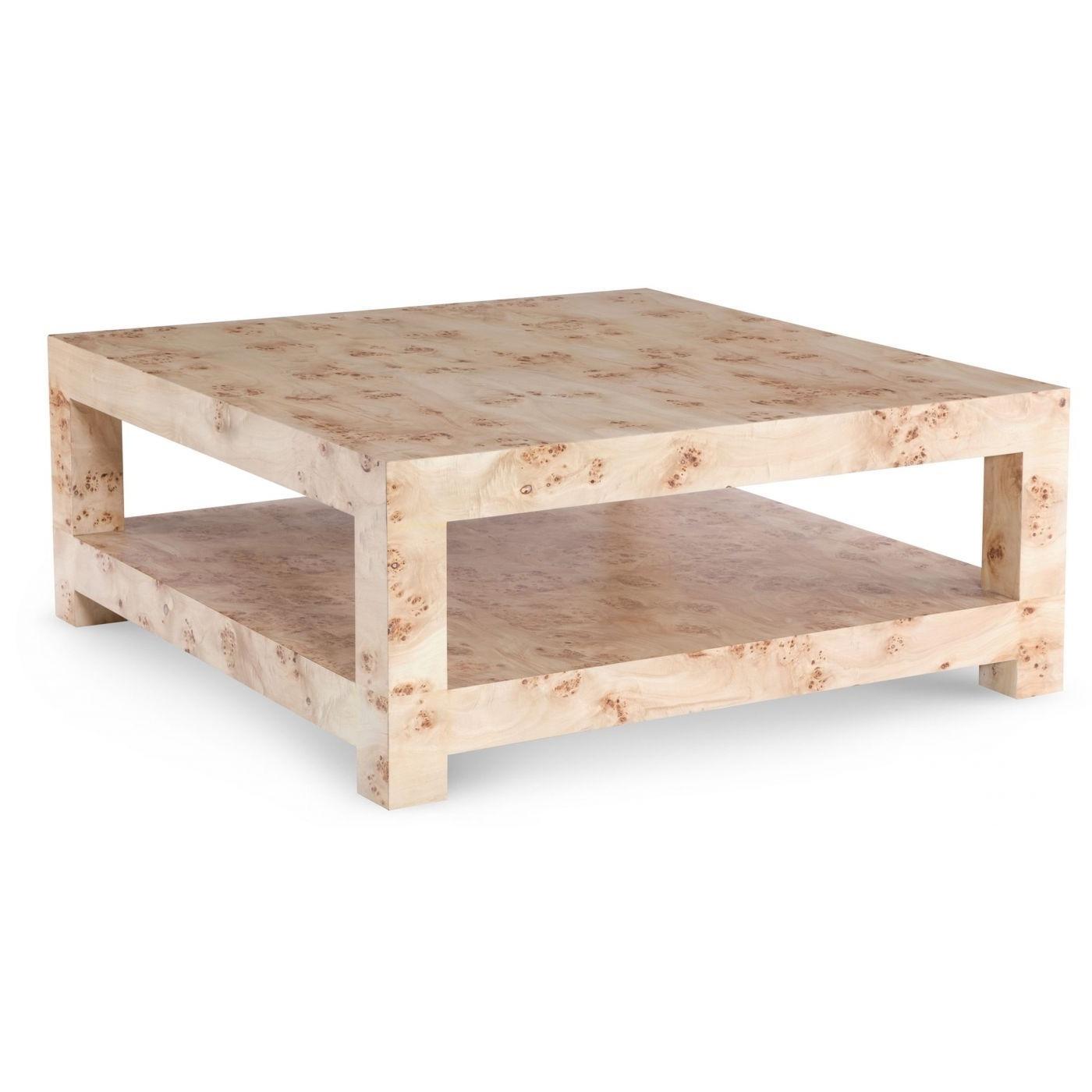 Bi Level Square Coffee Table In Mapa Burl Wood Vaneer (View 5 of 20)