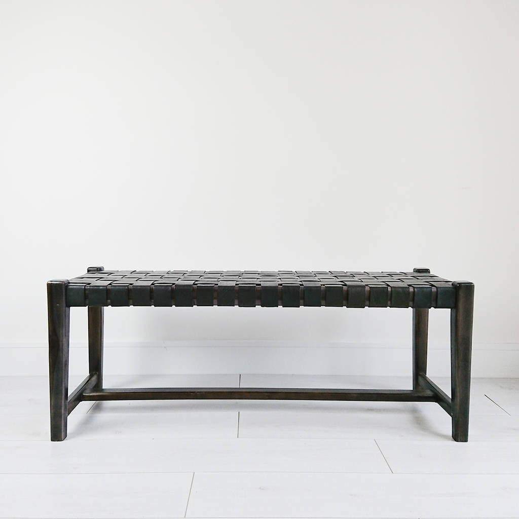 Black Abby Woven Leather Benchsouk Collective For Well Known Abby Cocktail Tables (View 11 of 20)