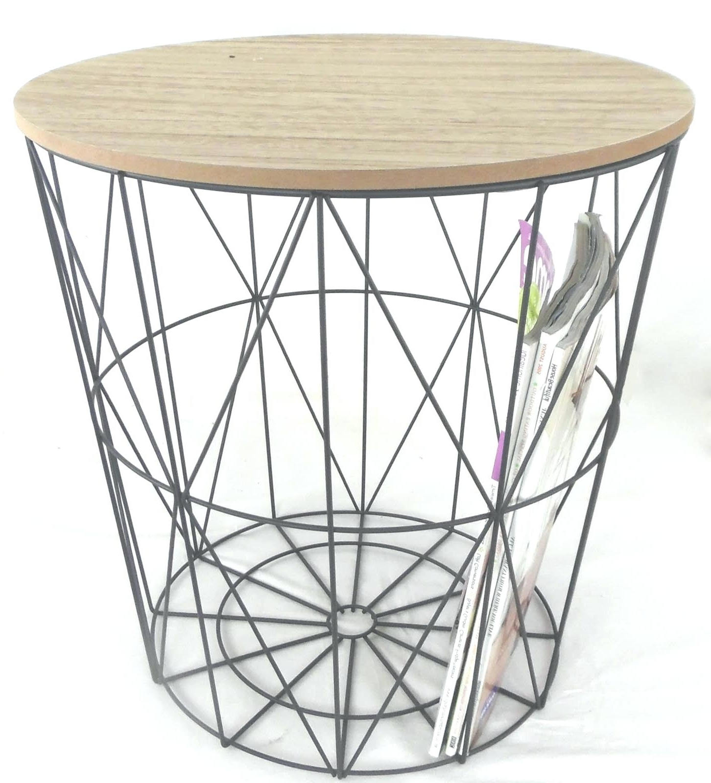 Black Wire Coffee Table Metal Side With Detachable Wooden Top Round Regarding Most Current Black Wire Coffee Tables (View 3 of 20)