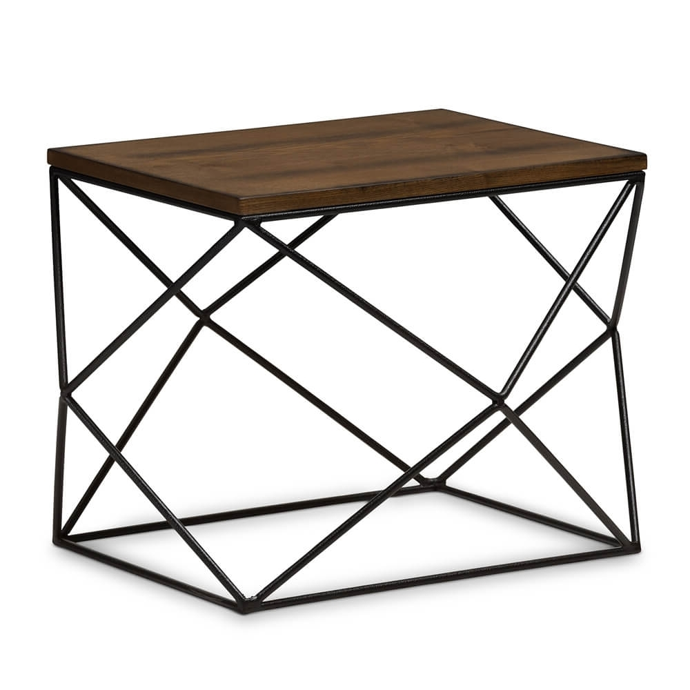 Black Wire Wood Geo Side Table (View 4 of 20)