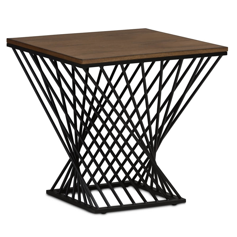 Black Wire Wood Twist Side Table (View 5 of 20)