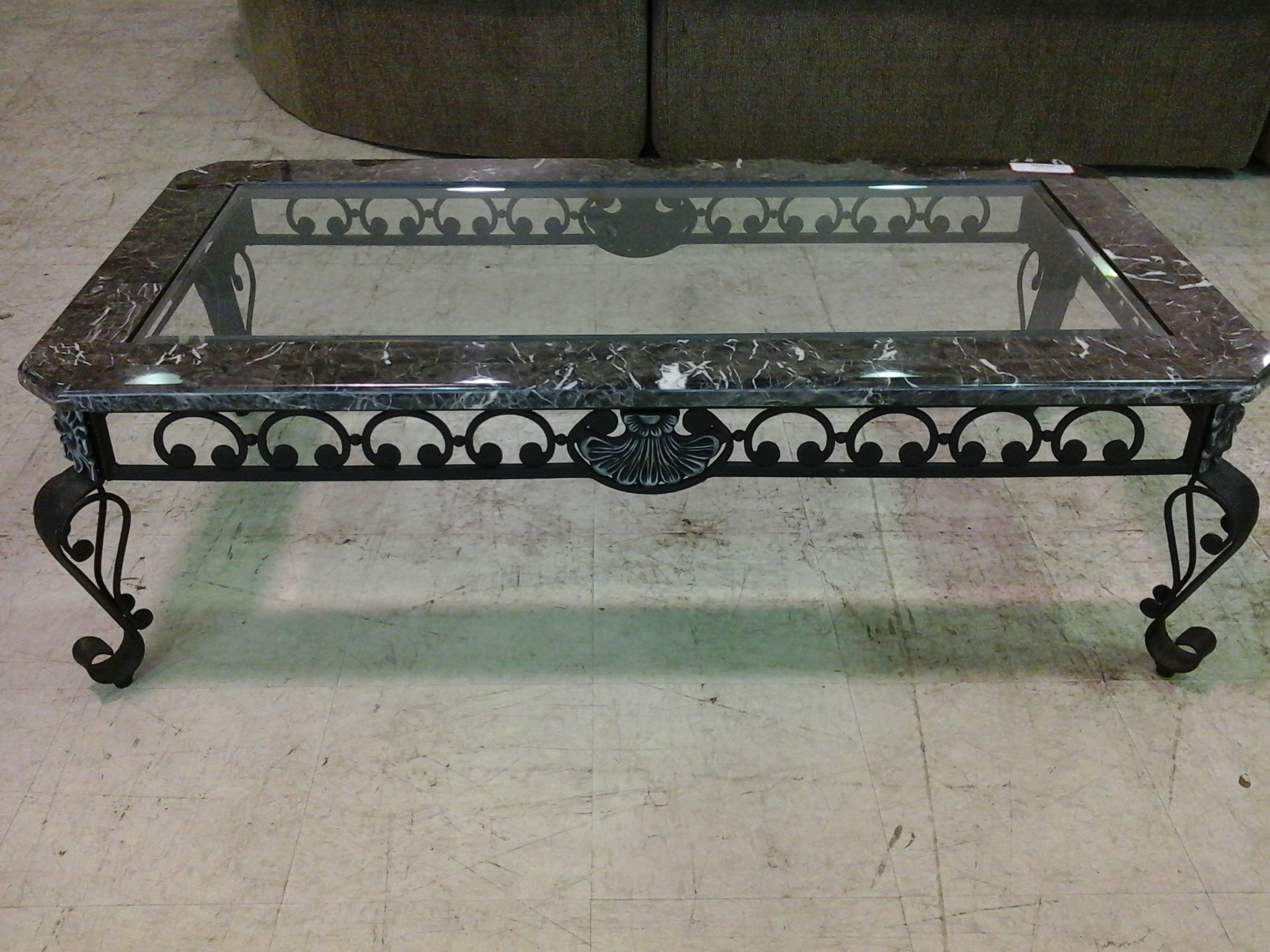 Black Wrought Iron Coffee Table With Black Marble And Glass Top Top Throughout Fashionable Modern Marble Iron Coffee Tables (View 2 of 20)