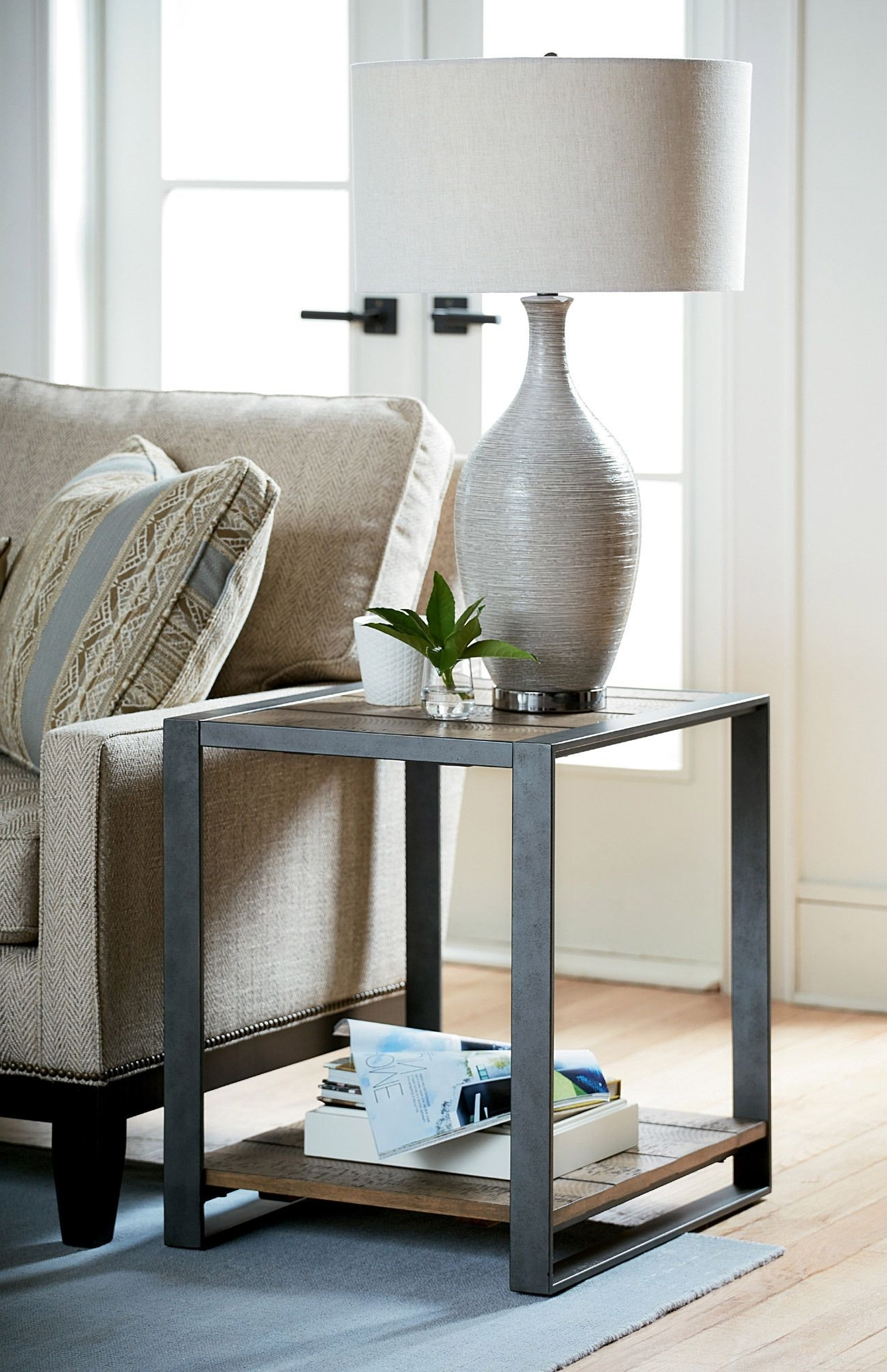 Blanton Rectangular End Table In Silver/oak (View 15 of 20)