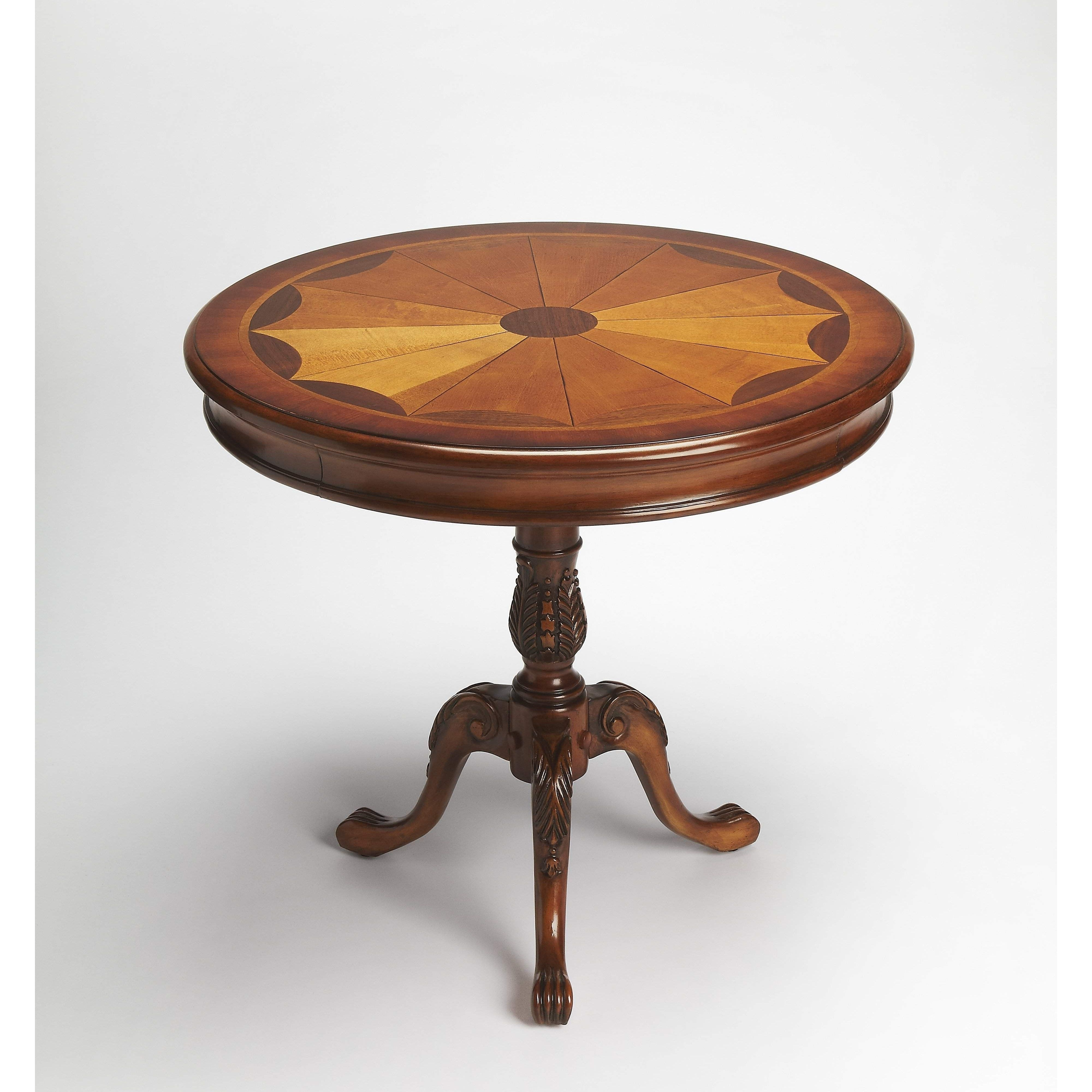 Butler Carissa Olive Ash Burl Round Pedestal Table  (View 1 of 20)