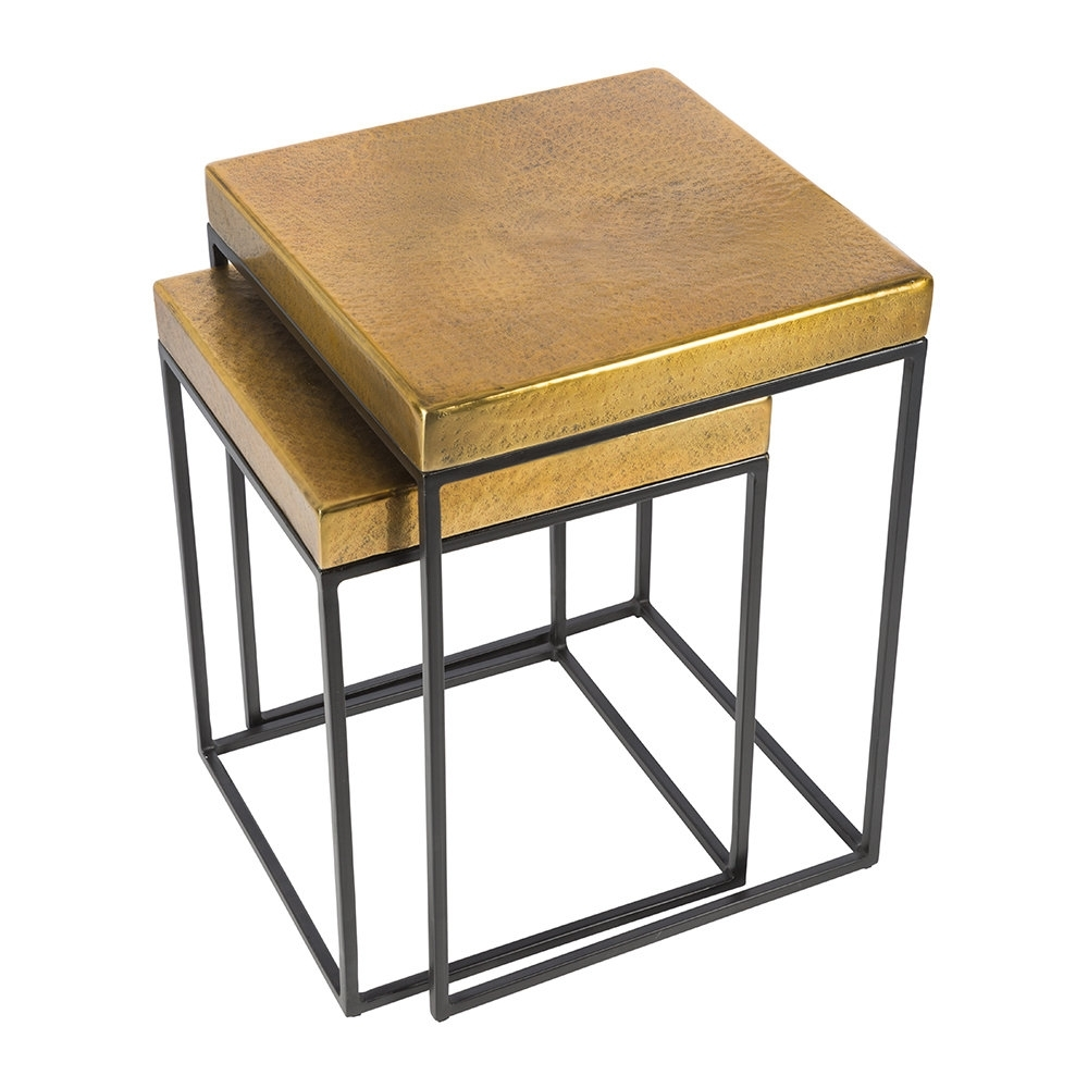 Buy Aamara Cube Side Tables – Set Of 2 – Antique Brass (View 11 of 20)