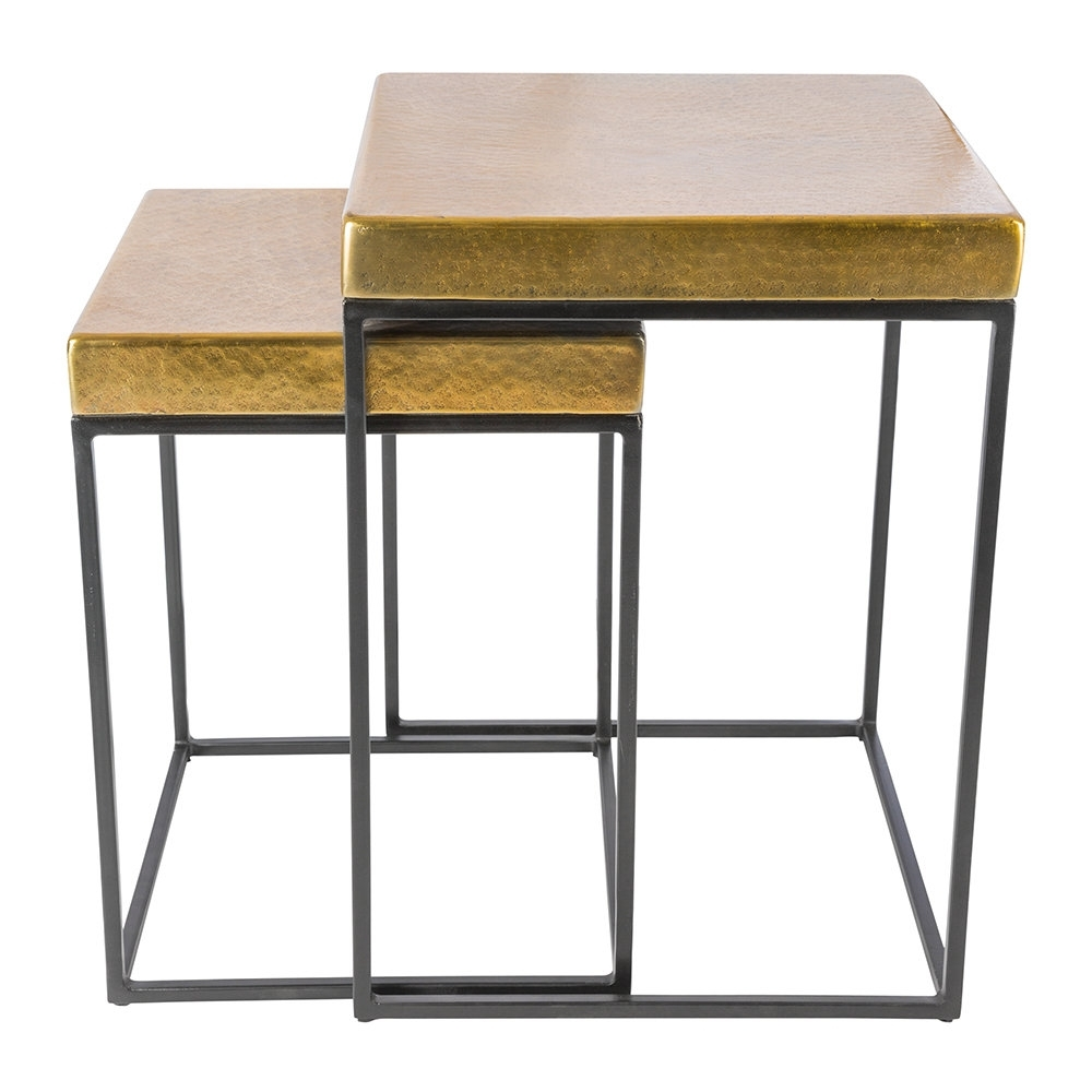 Buy Aamara Cube Side Tables – Set Of 2 – Antique Brass (View 4 of 20)