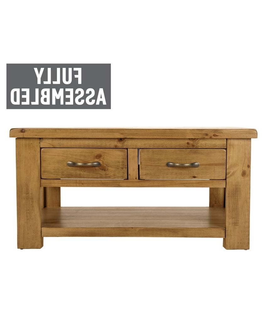 Buy Collection Arizona 2 Drawer 1 Shelf Coffee Table – Pine At Argos With Most Recently Released Natural 2 Drawer Shutter Coffee Tables (View 19 of 20)