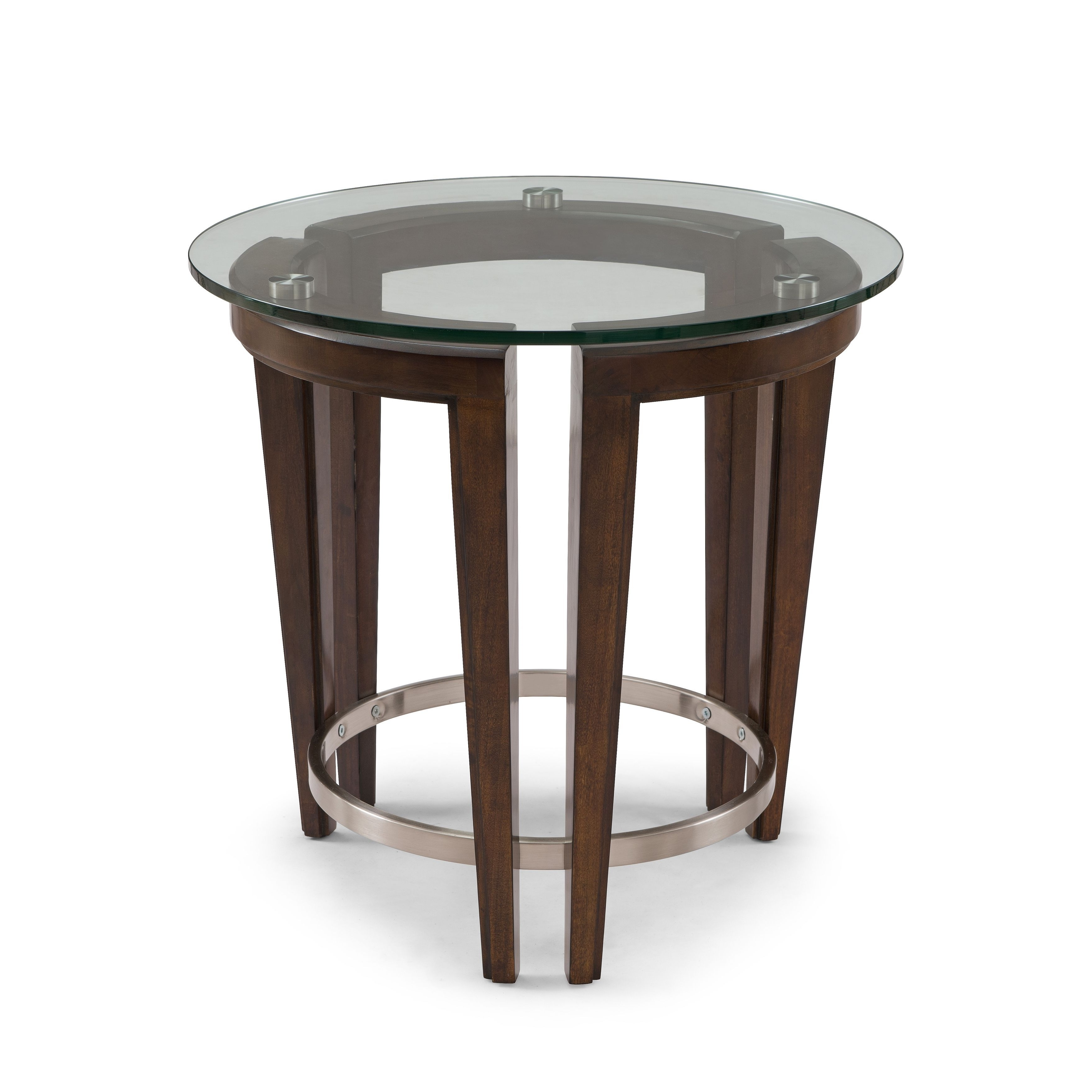 Carmen Contemporary Hazelnut Round Glass Top End Table (Carmen Round For Trendy Torrin Round Cocktail Tables (View 1 of 20)