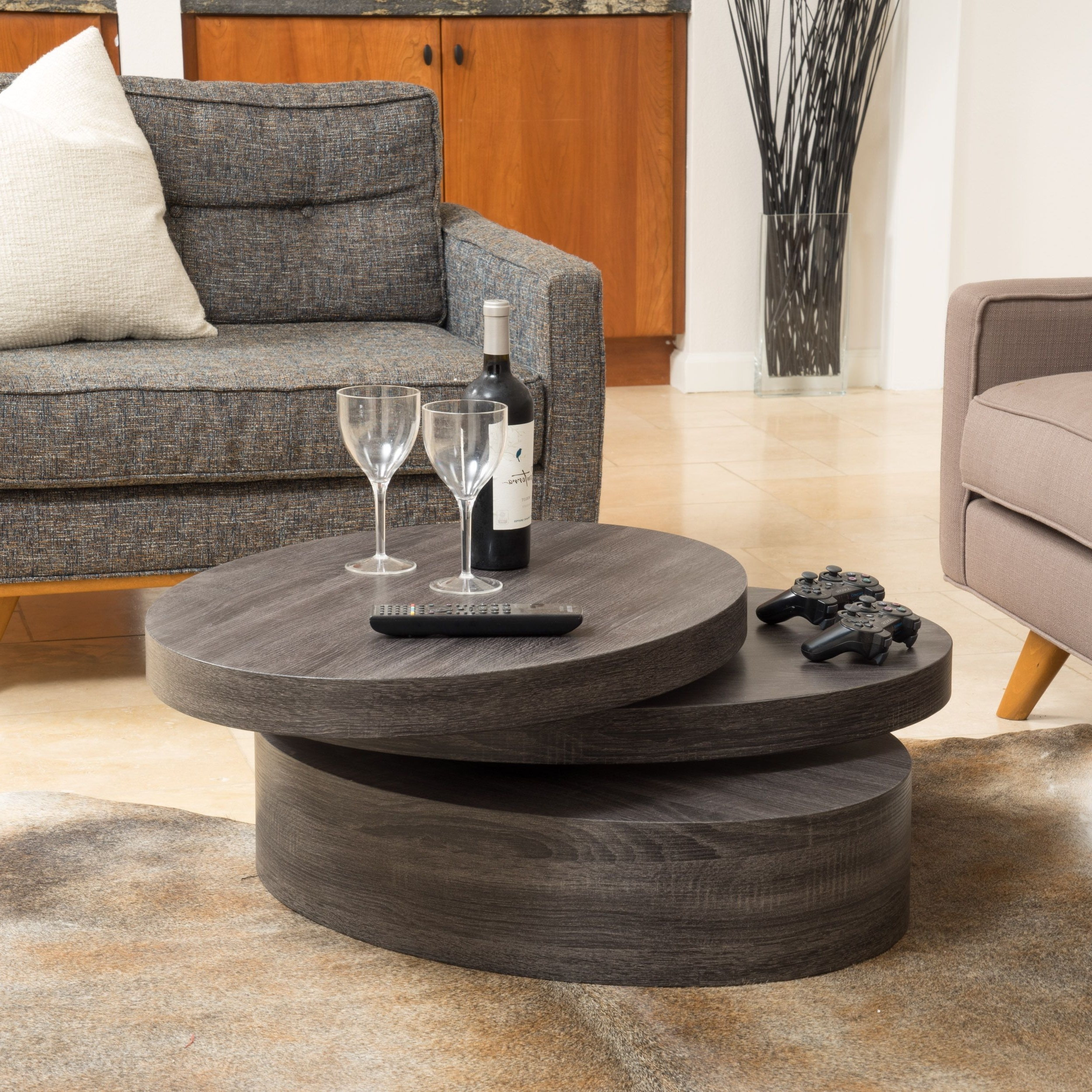 Carson Oval Mod Rotating Wood Coffee Tablechristopher Knight For 2017 Stack Hi Gloss Wood Coffee Tables (View 2 of 20)