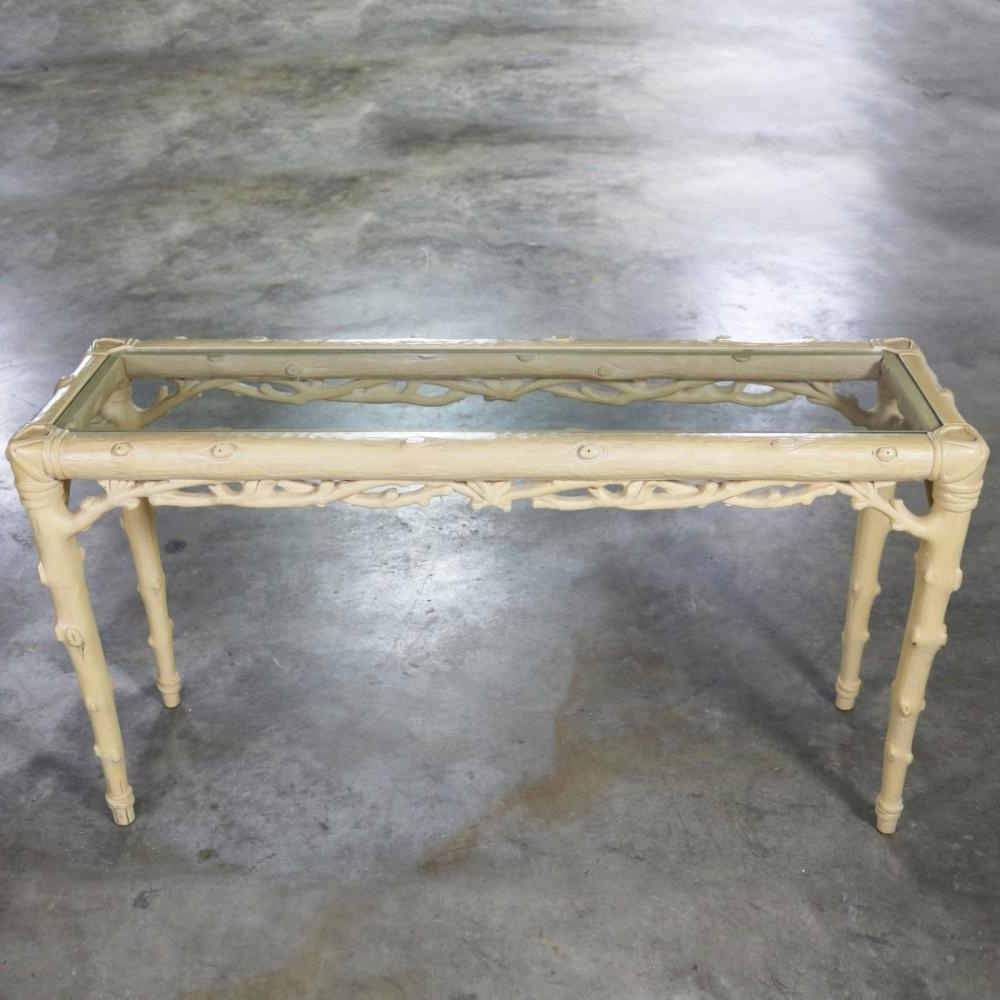Carved Wood Faux Bois Sofa Console Table With Ivory Painted Intended For Widely Used Faux Bois Coffee Tables (View 20 of 20)