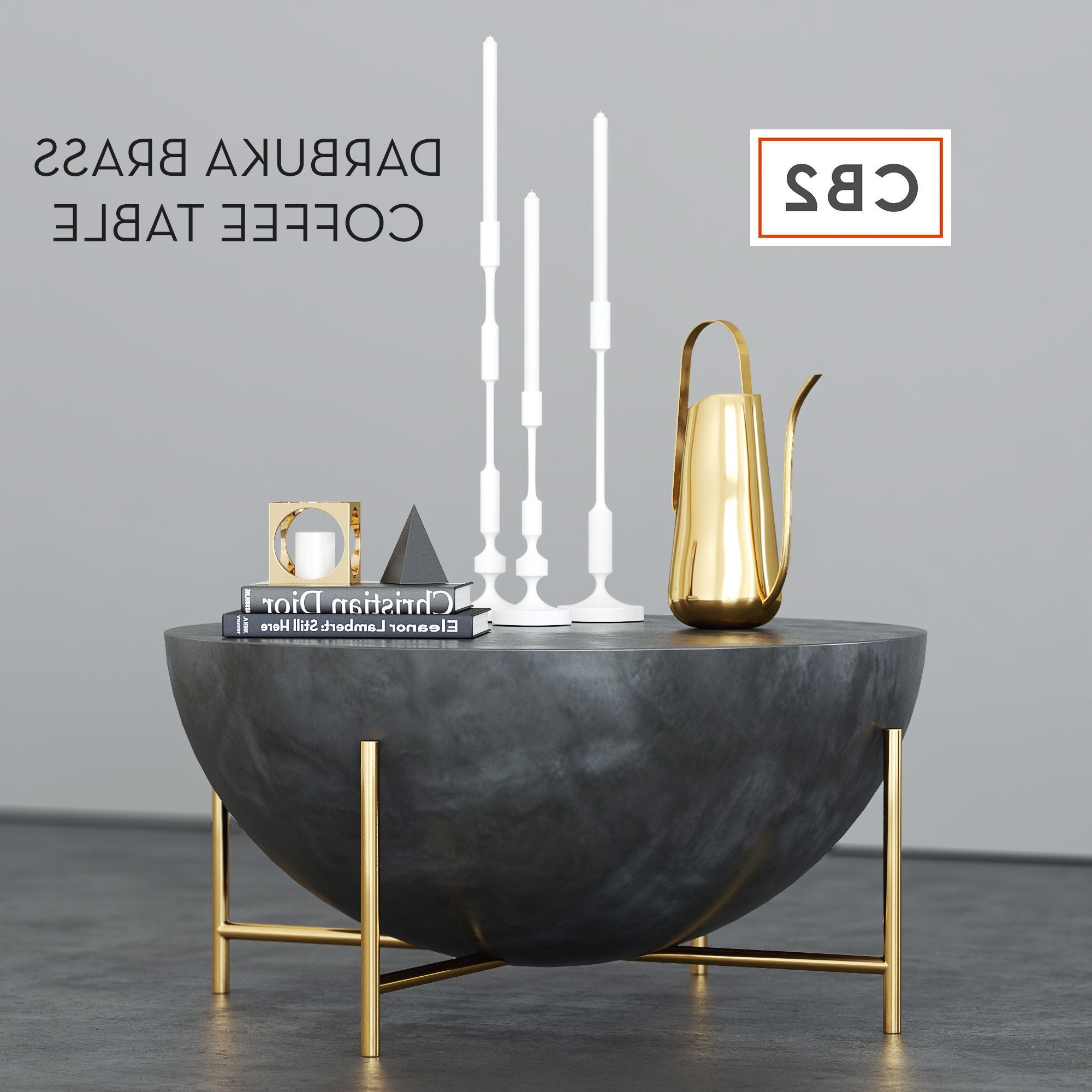 Cb2 Darbuka Brass Coffee Table 3D (View 6 of 20)