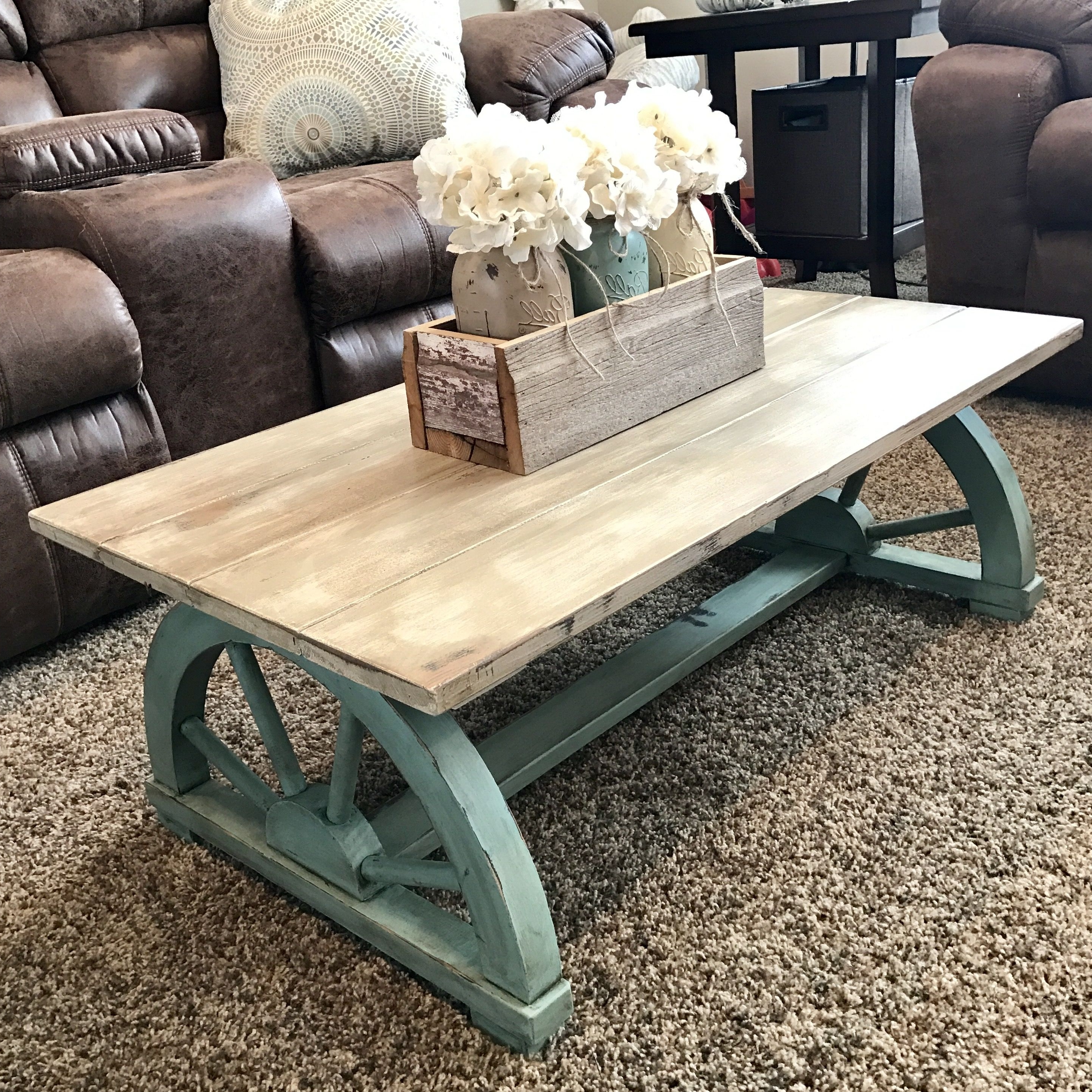 Chalk Painted Vintage Wagon Wheel Coffee Table (View 2 of 20)