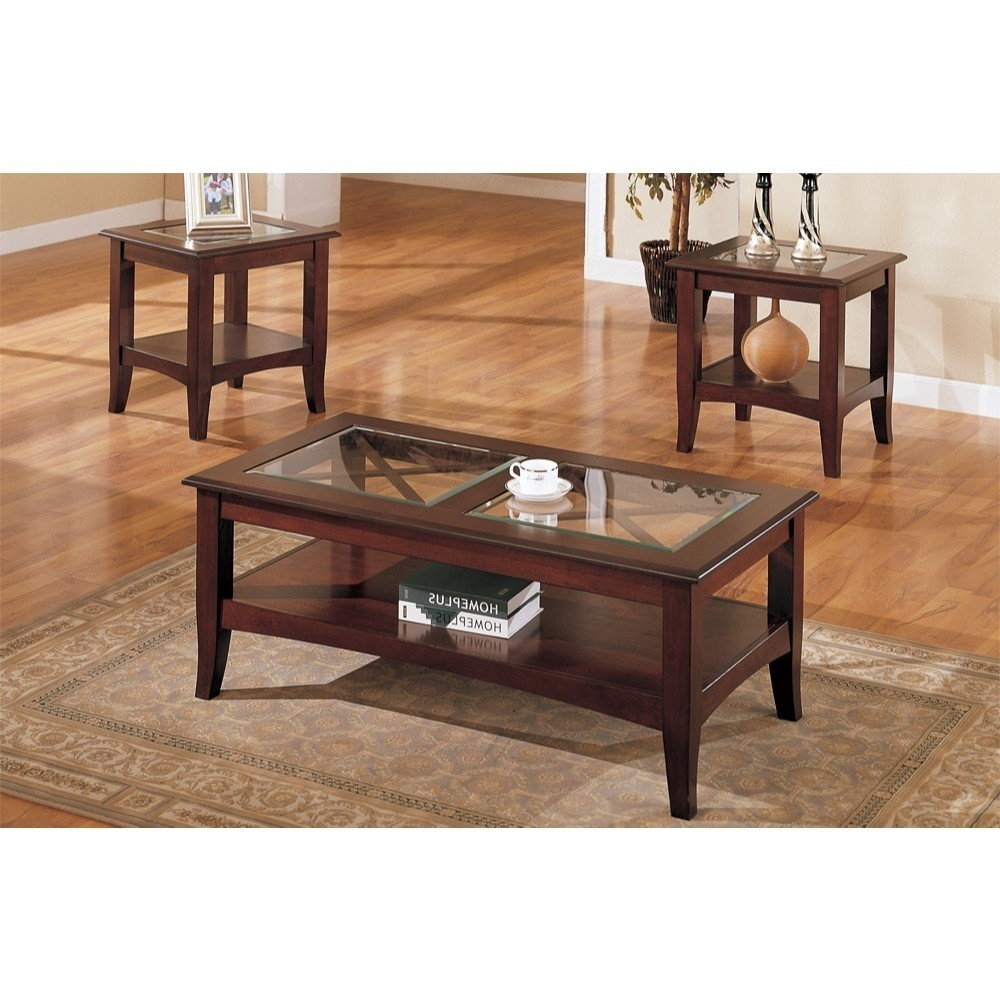Charlton Home Holte Wooden 3 Piece Coffee Table Set With Glass Top Pertaining To Preferred Ashburn Cocktail Tables (View 9 of 20)