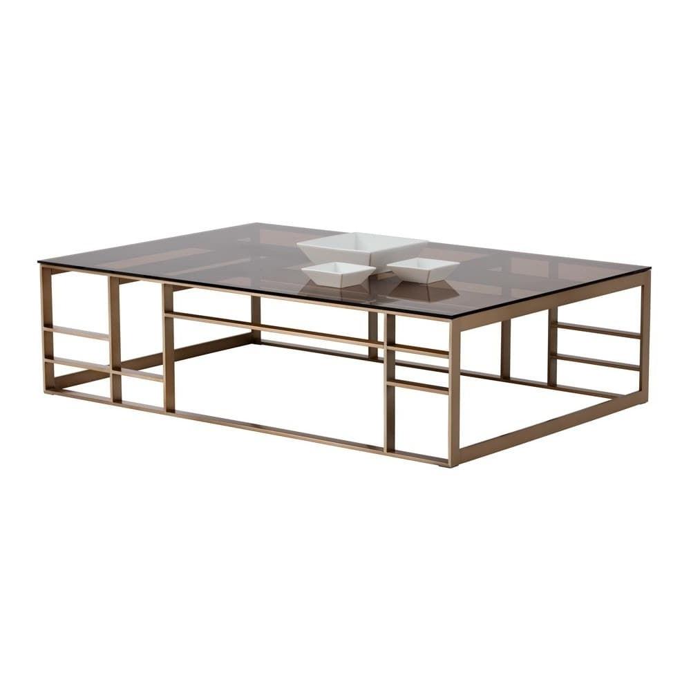 Club Joanna Brown Glass Rectangular Coffee Table (View 15 of 20)
