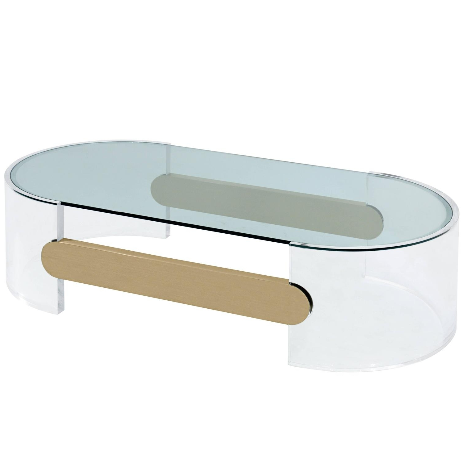 Coffee Table In Lucite With Brushed Brass Stretchersraymond Regarding Best And Newest Acrylic & Brushed Brass Coffee Tables (View 15 of 20)
