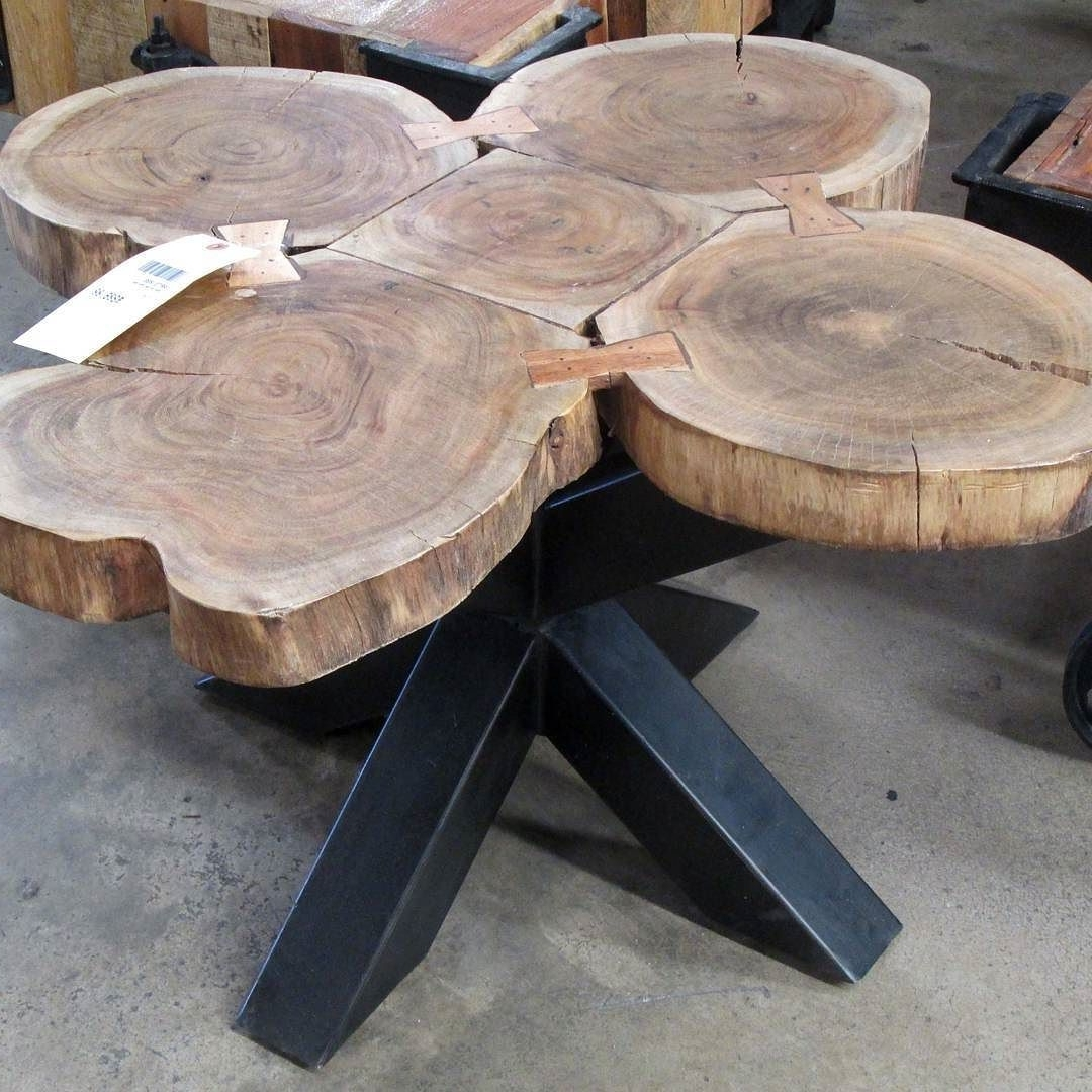 Coffee Table Made With Slices Of A Whole Tree Trunk, Revealing The In Newest Sliced Trunk Coffee Tables (View 2 of 20)