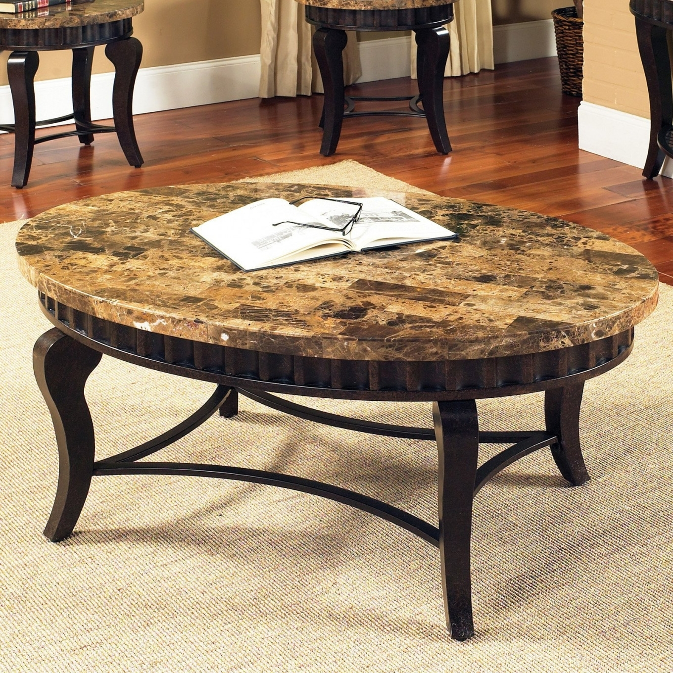 Coffee Table : Round Glass Coffee Table Glass Top Coffee Table For Inside Most Up To Date Stone Top Coffee Tables (View 14 of 20)