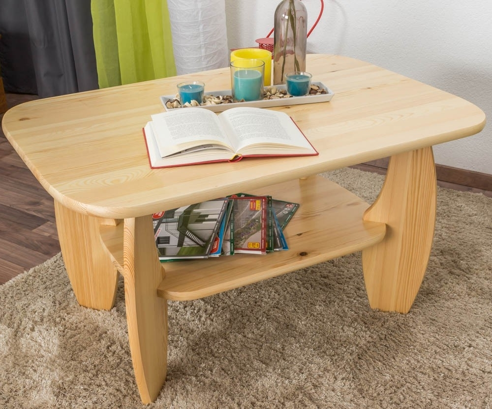 Coffee Table Solid, Natural Pine Wood 005 – Dimensions 60 X 110 X 75 For Popular Natural Pine Coffee Tables (View 11 of 20)