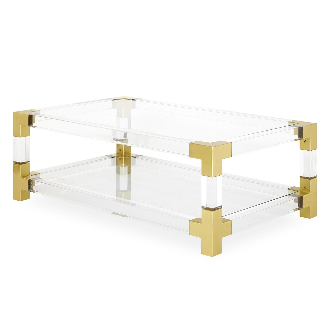 Contemporary Coffee Table / Glass / Brushed Brass / Acrylic For Widely Used Acrylic & Brushed Brass Coffee Tables (View 3 of 20)