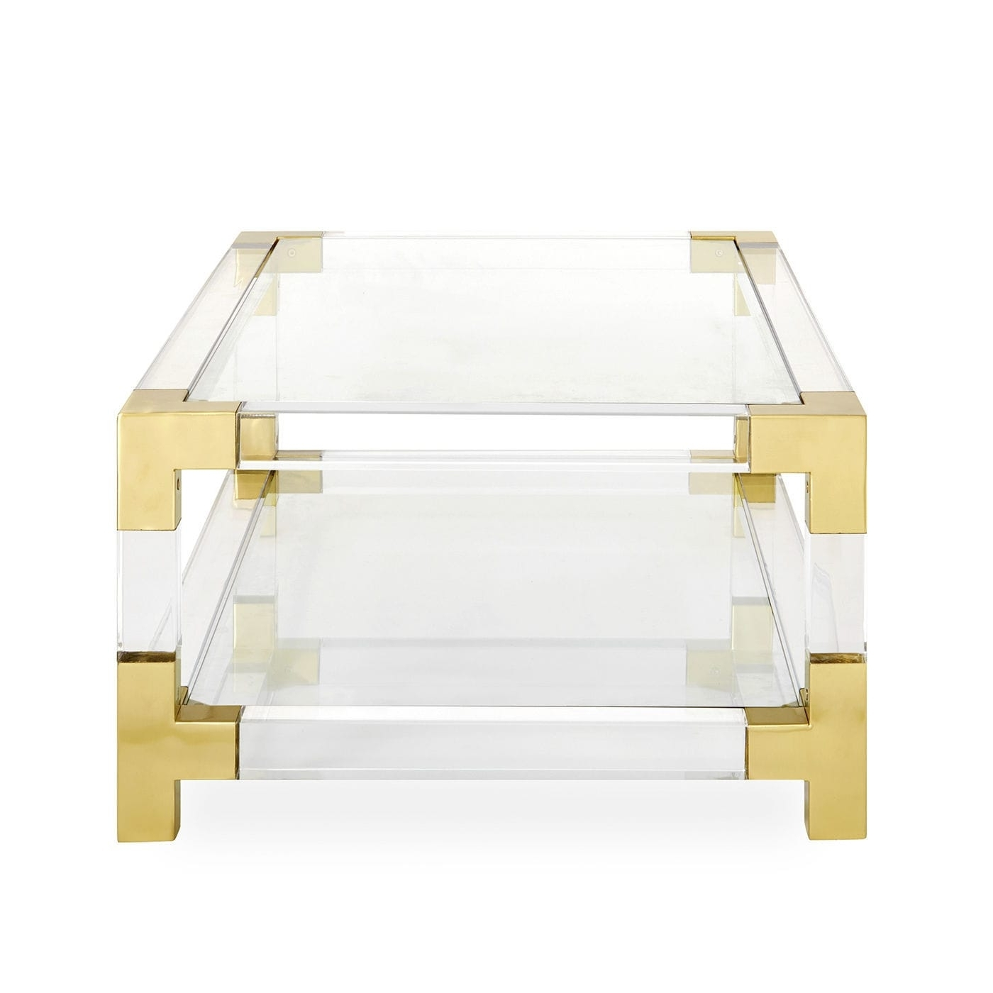 Contemporary Coffee Table / Glass / Brushed Brass / Acrylic Pertaining To Famous Acrylic & Brushed Brass Coffee Tables (View 7 of 20)