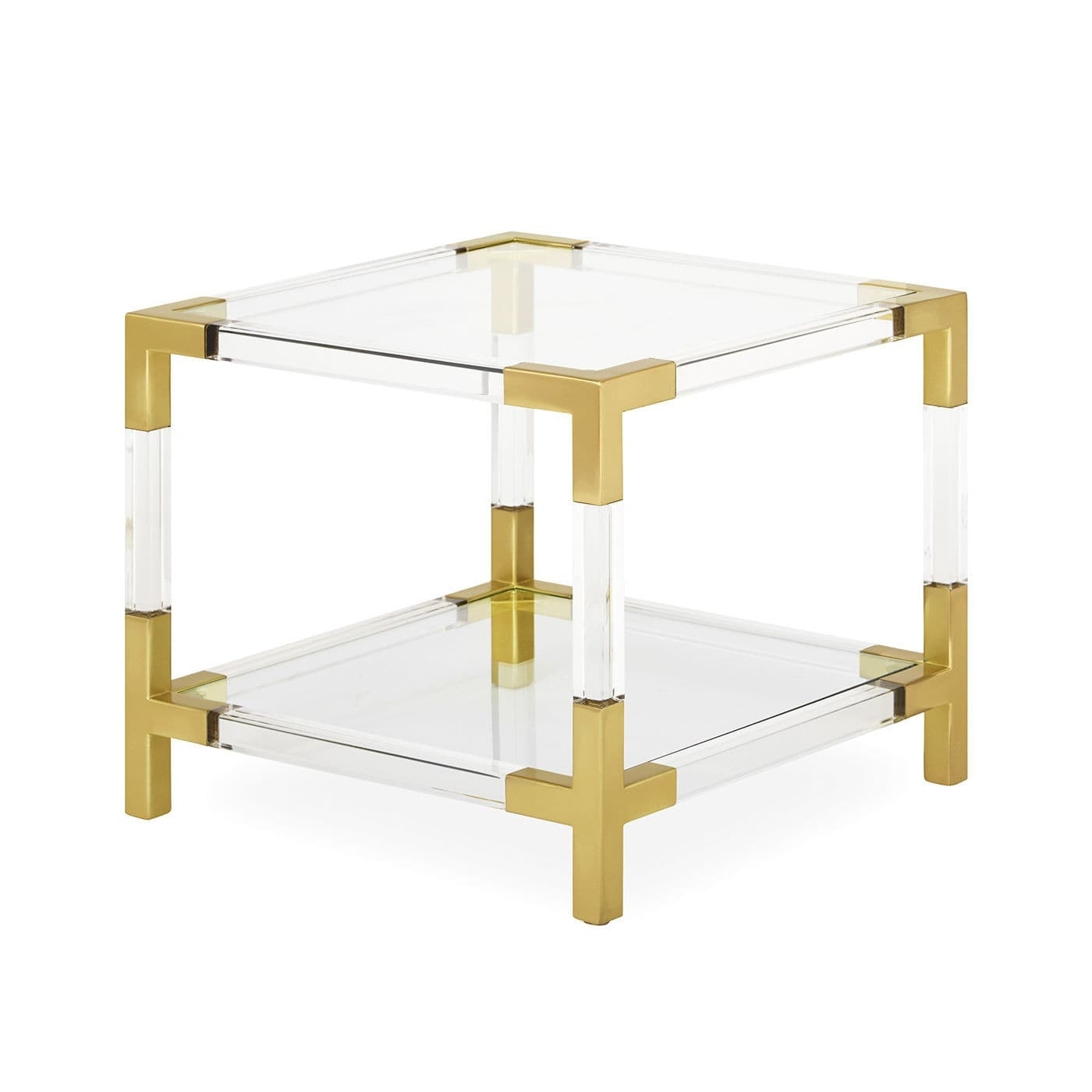 Contemporary Side Table / Glass / Brushed Brass / Acrylic – Jacques Regarding Most Up To Date Acrylic & Brushed Brass Coffee Tables (View 5 of 20)