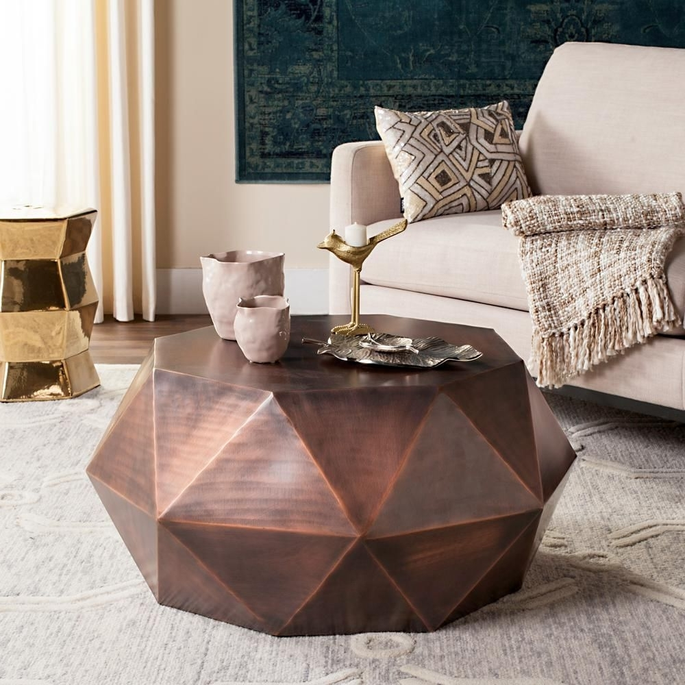 Copper Coffee Table Pertaining To Famous Geo Faceted Coffee Tables (View 3 of 20)