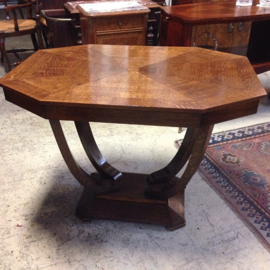 Current Antiqued Art Deco Coffee Tables Pertaining To French Art Deco Oak Centre Table – French Antiques Melbourne (View 6 of 20)