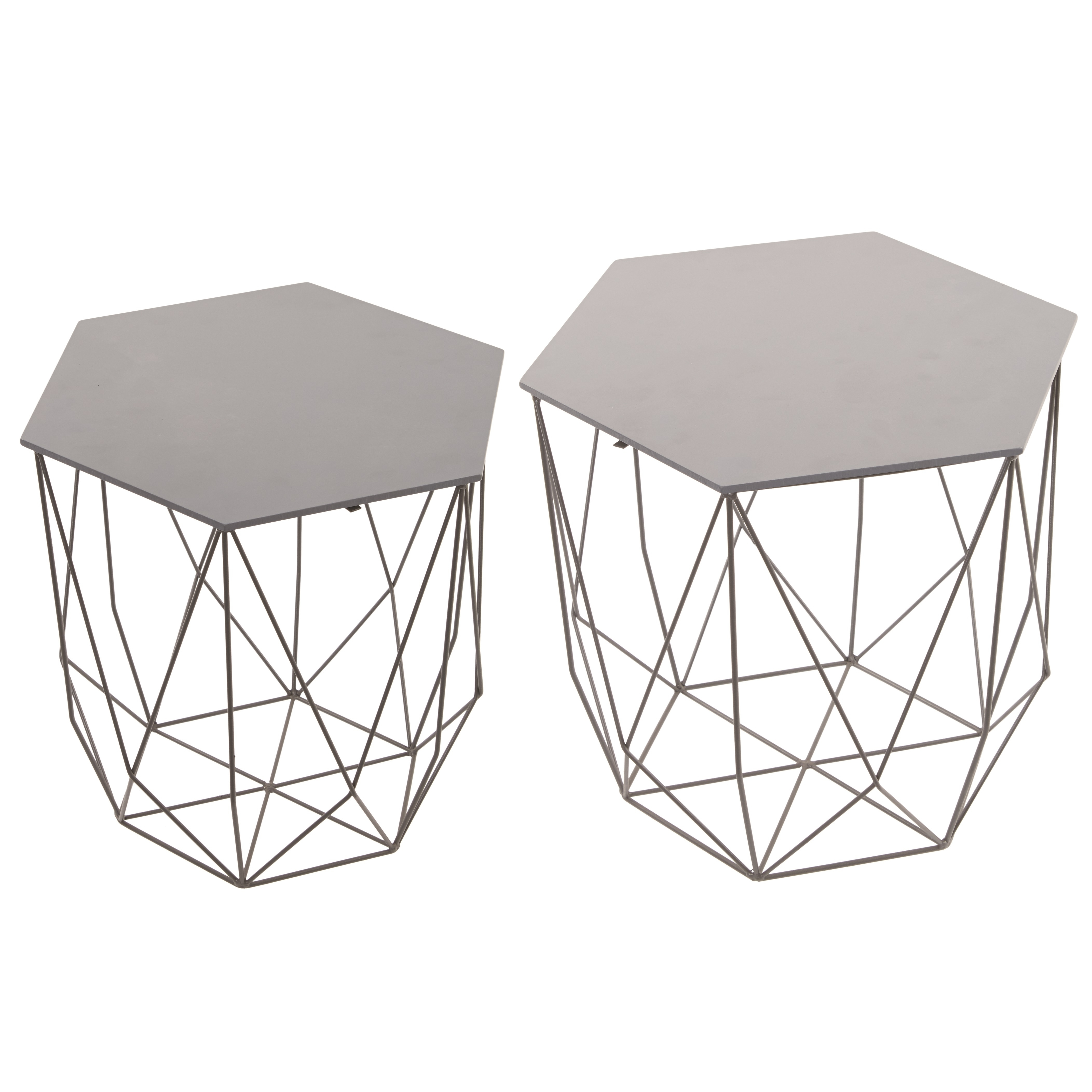 Current Black Wire Coffee Tables With Regard To Hexagon Grey Six Sided Wire & Wood Side Table Set Of  (View 6 of 20)
