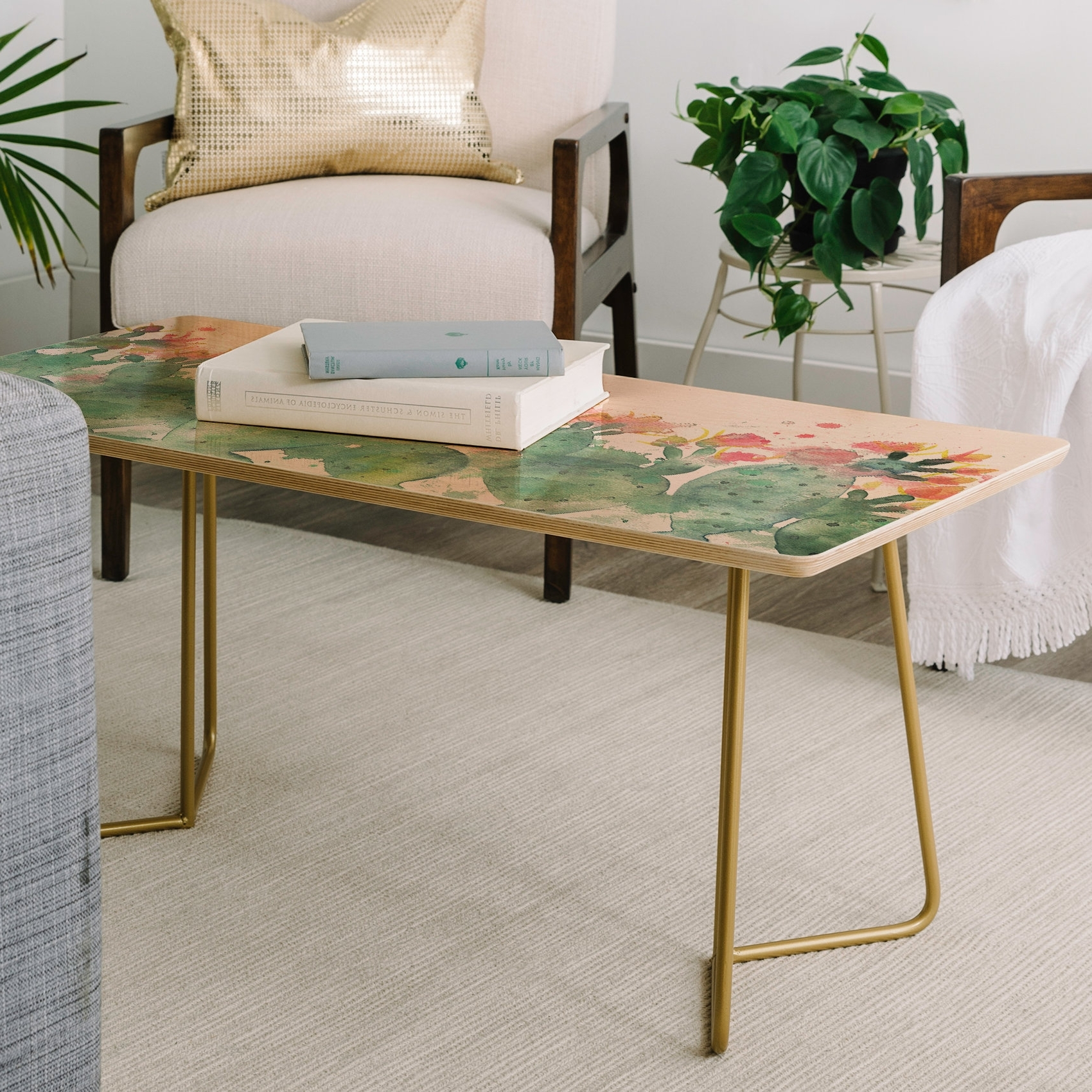 Current Cacti Brass Coffee Tables Inside East Urban Home Dash And Ash Messy Cactus Coffee Table (View 7 of 20)