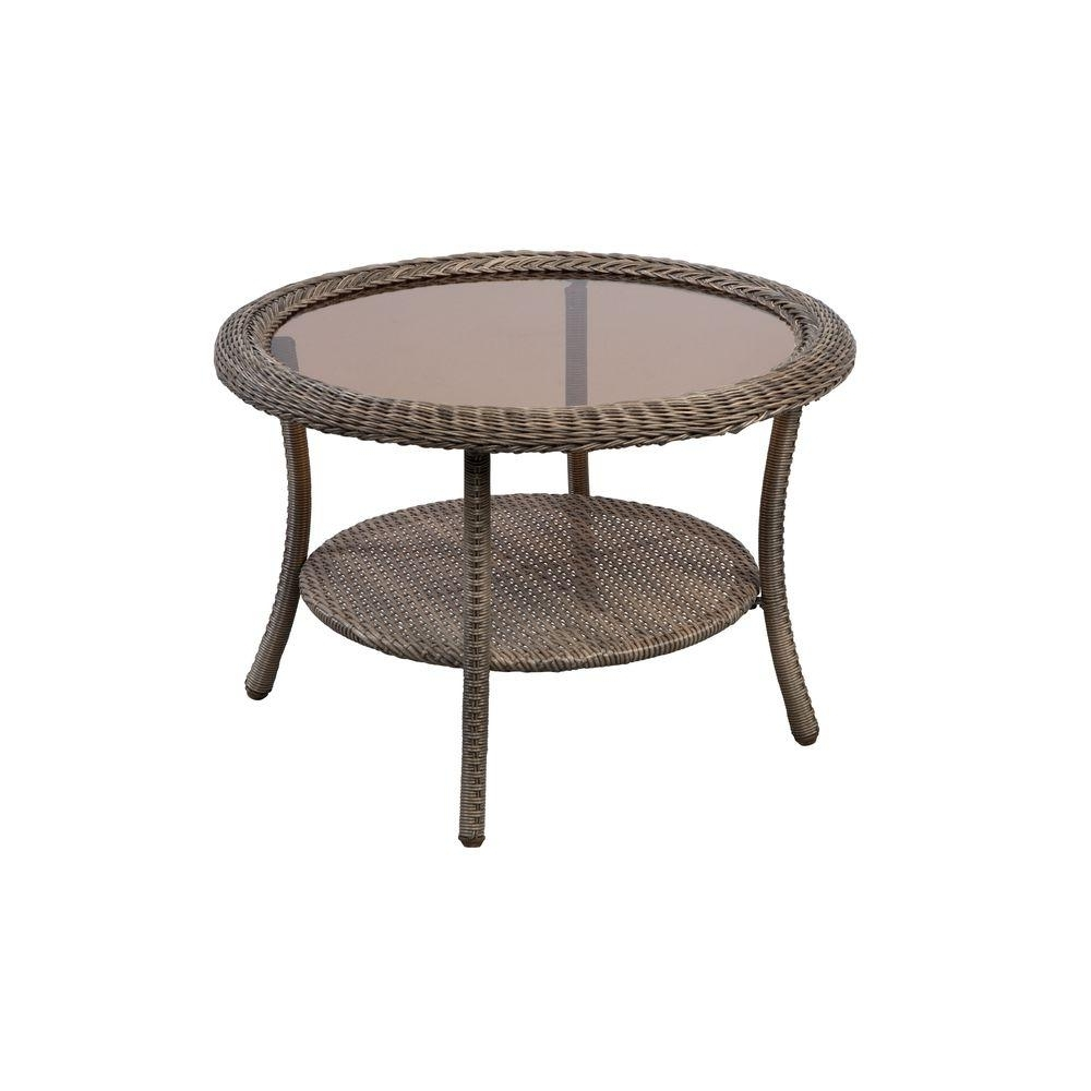Current Haven Coffee Tables Pertaining To Hampton Bay Spring Haven Grey Round Wicker Outdoor Patio Coffee (View 3 of 20)