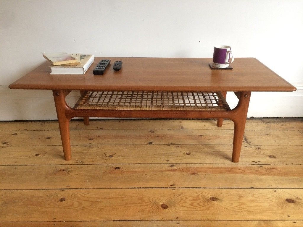 Current Large Teak Coffee Tables Pertaining To Mid Century Danish Trioh Large Teak Coffee Table With Rattan Shelf (View 4 of 20)