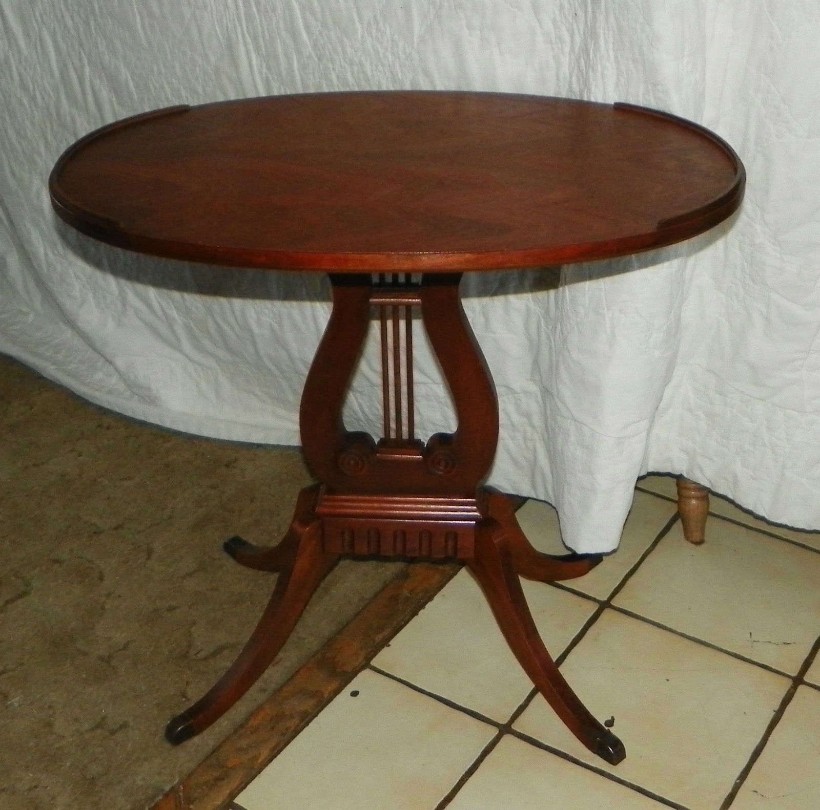 Current Lyre Coffee Tables Pertaining To Oval Mahogany Lyre Base End Table / Side And 50 Similar Items (View 12 of 20)