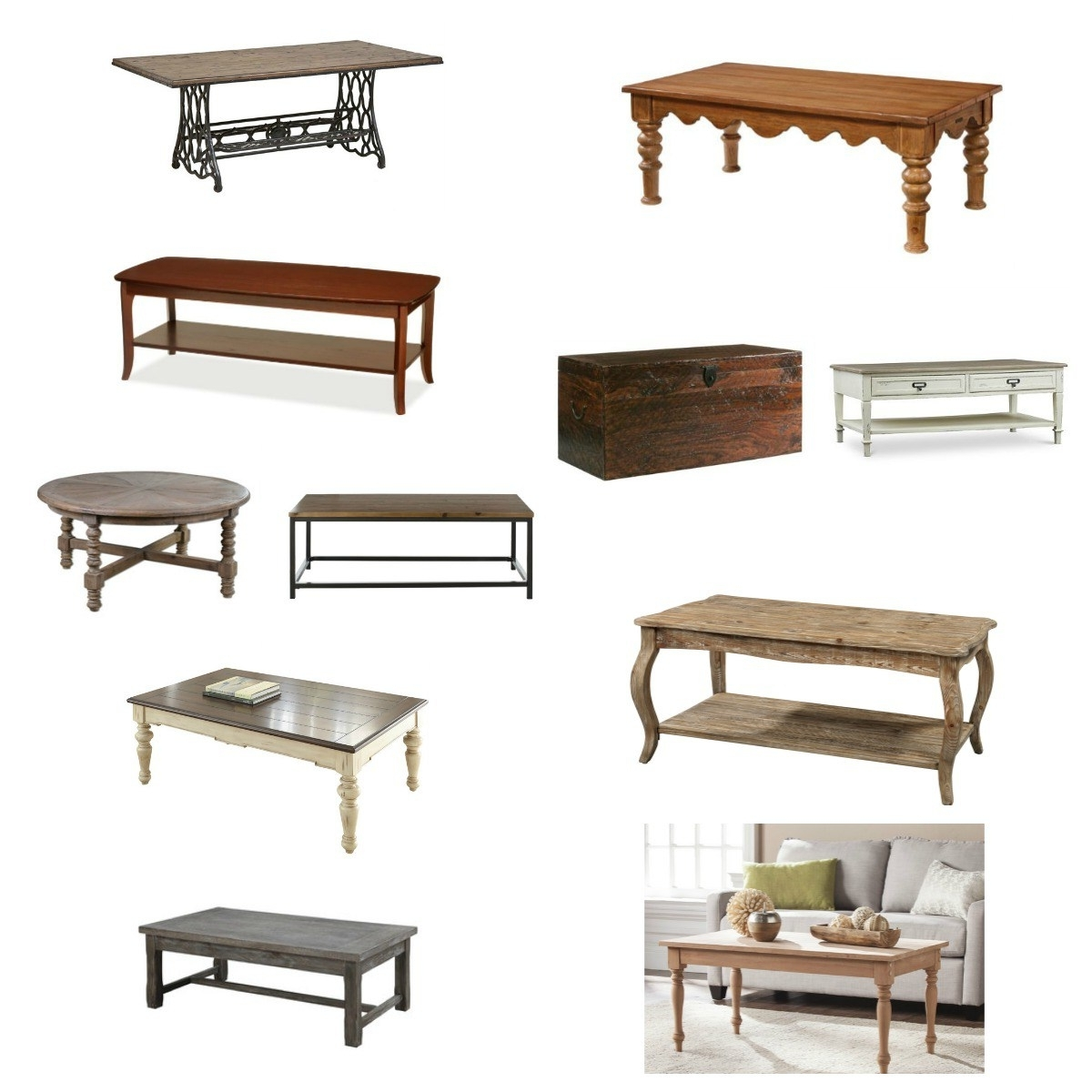 Current Magnolia Home Scallop Antique White Cocktail Tables Regarding 11 Coffee Tables With Farmhouse Charm (View 17 of 20)