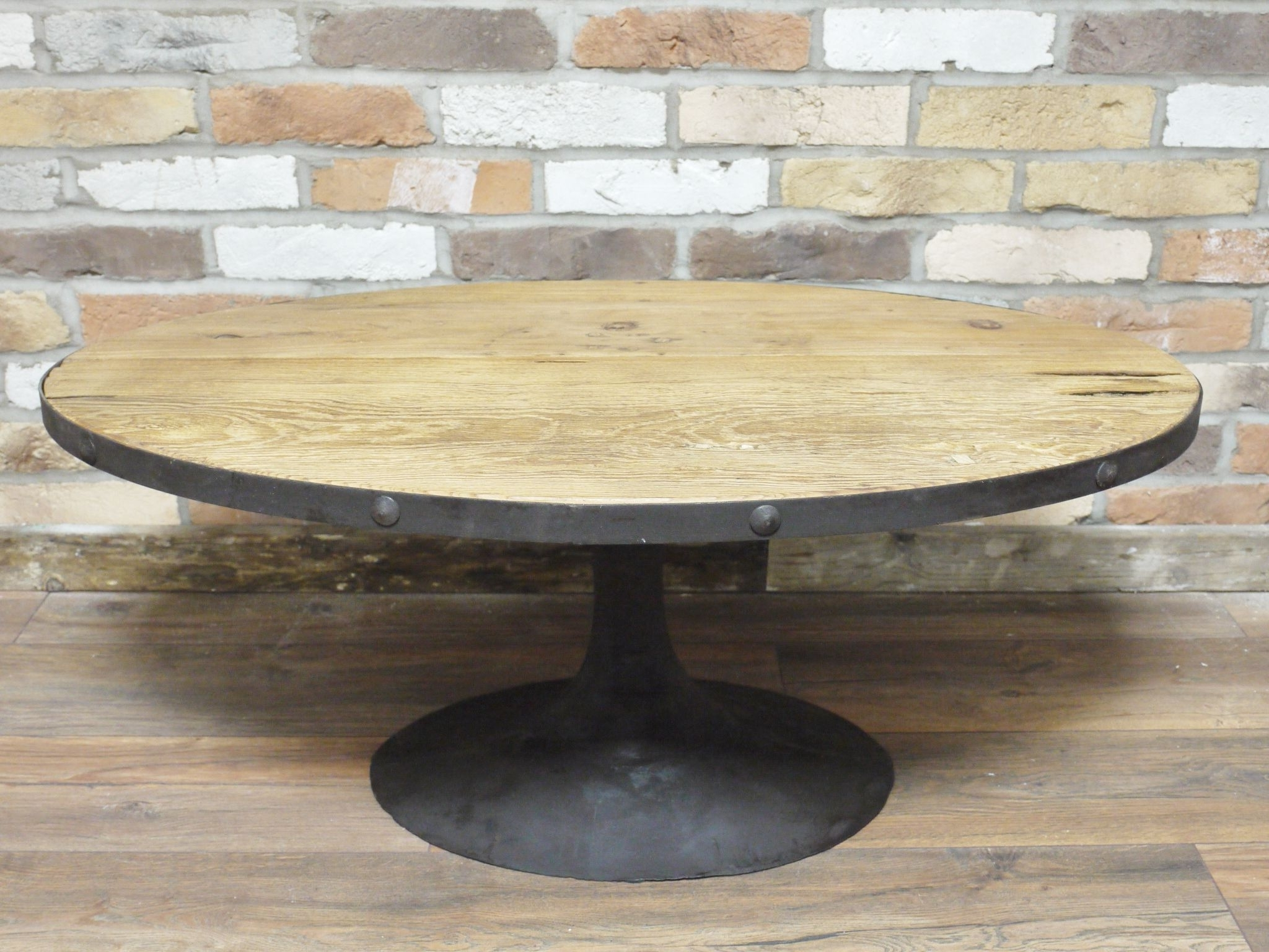 Current Reclaimed Elm Cast Iron Coffee Tables Within Oval Reclaimed Wood Cast Iron Coffee Table (View 6 of 20)