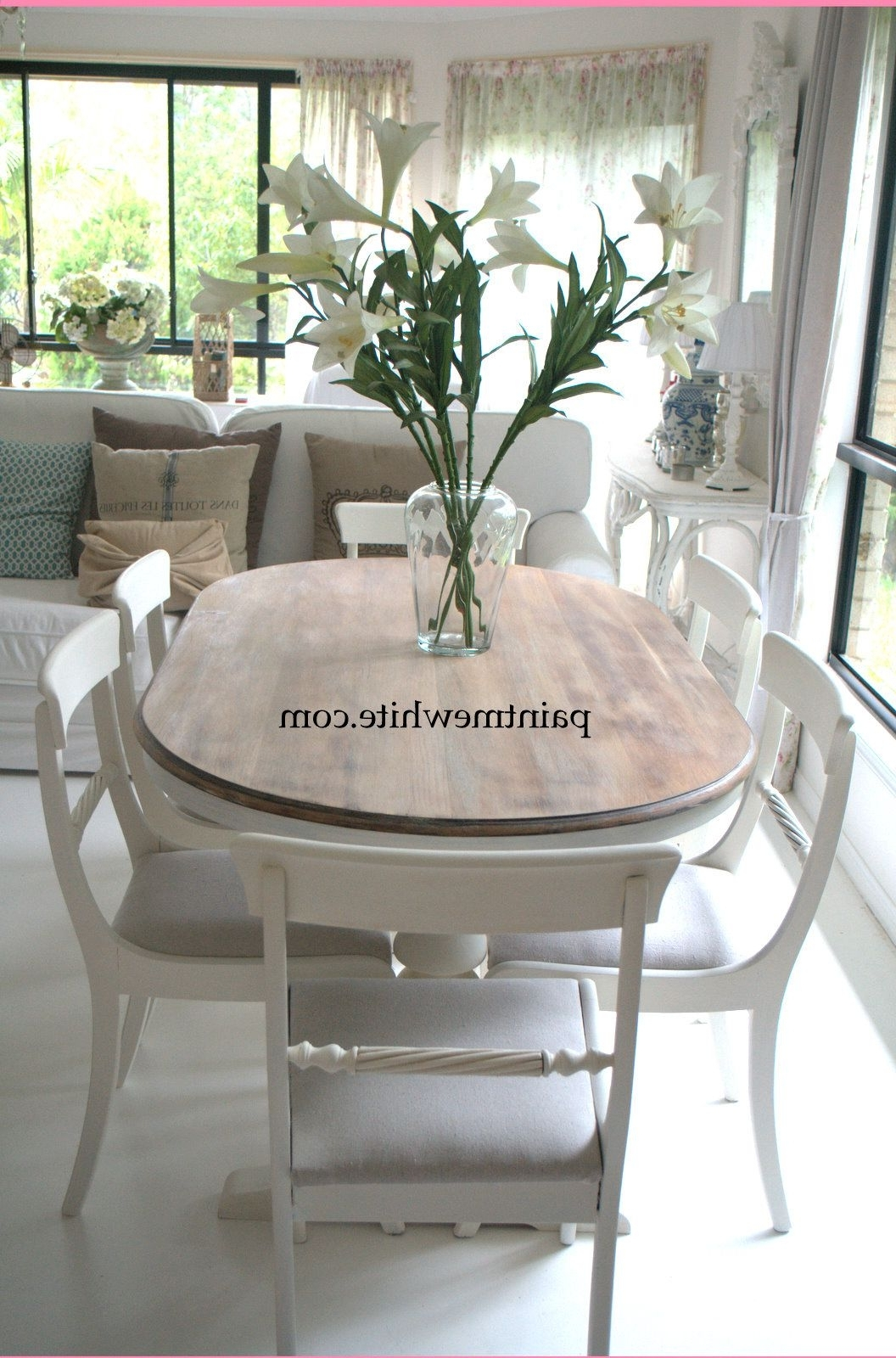 Current Round White Wash Brass Painted Coffee Tables Inside Dining Table Makeover – Whitewash Table Top And White Chalk Paint (View 2 of 20)