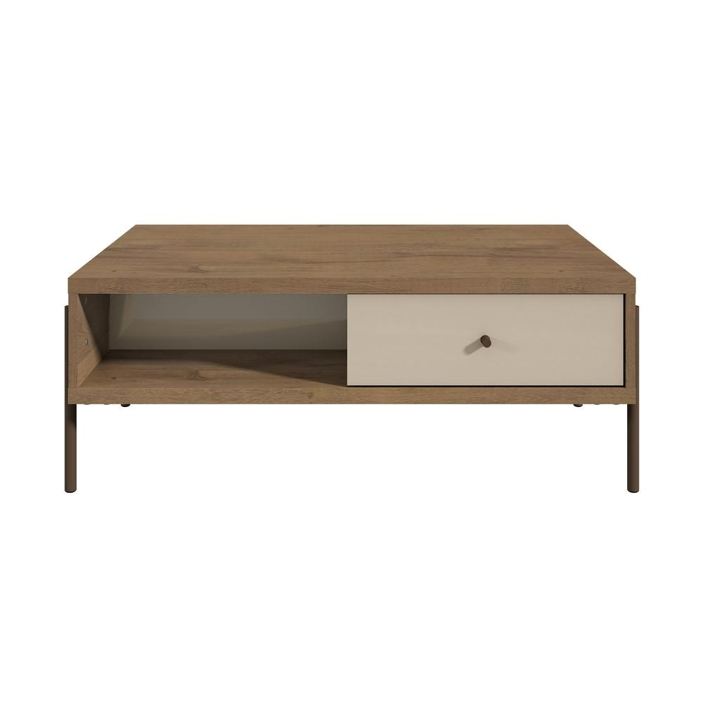 Current Walnut Finish 6 Drawer Coffee Tables Within Manhattan Comfort Joy 2 Drawer Off White Double Sided End Table (View 8 of 20)