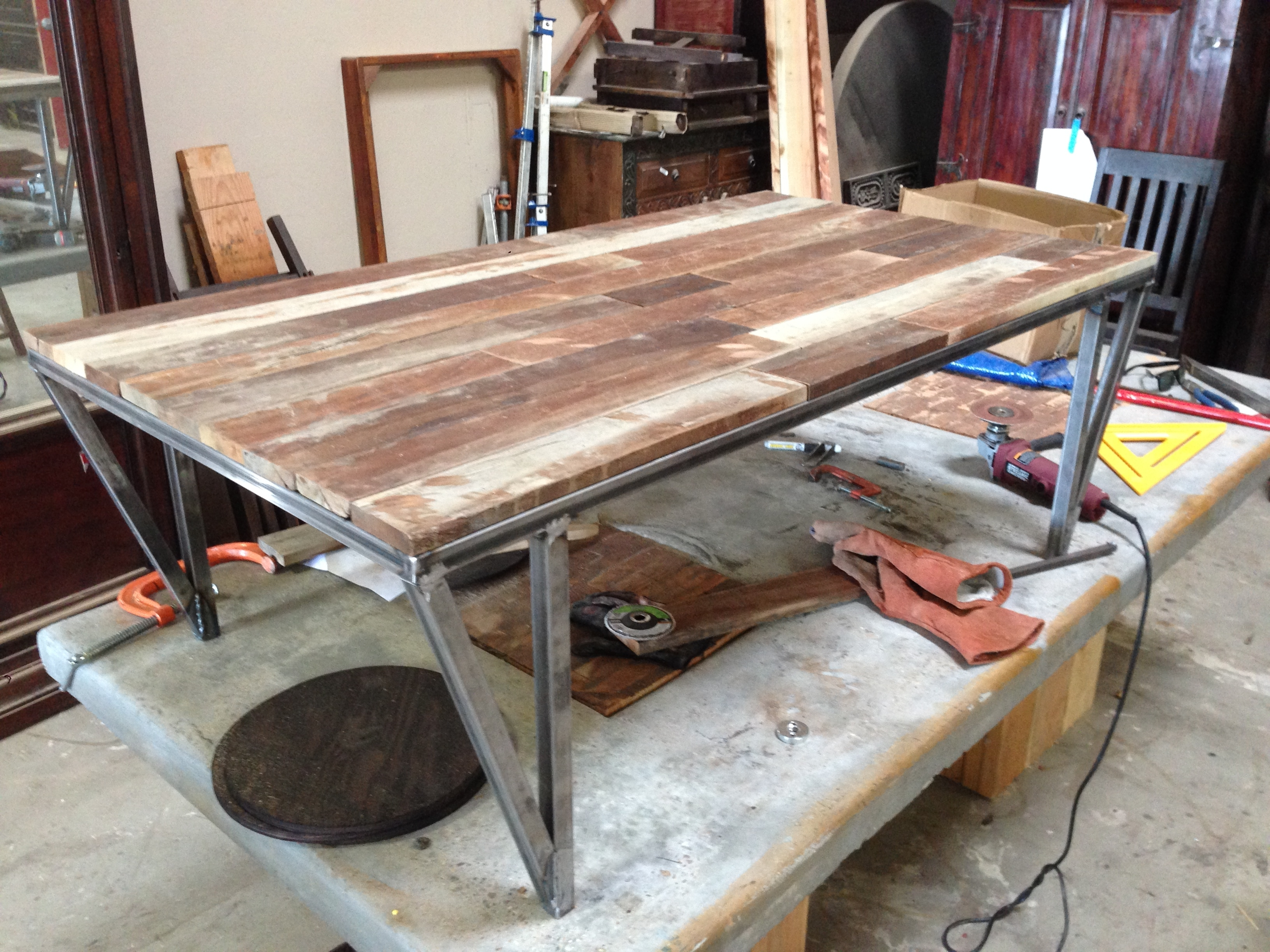 Custom Metal And Wood Furniture At San Diego Rustic Furniture – Made In Newest Iron Wood Coffee Tables With Wheels (View 13 of 20)