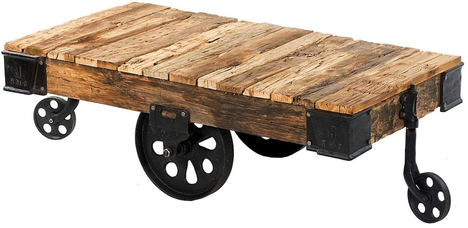 Custom Reproduction Industrial Factory Cart Coffee Tablemortise For Most Current Natural Wheel Coffee Tables (View 4 of 20)