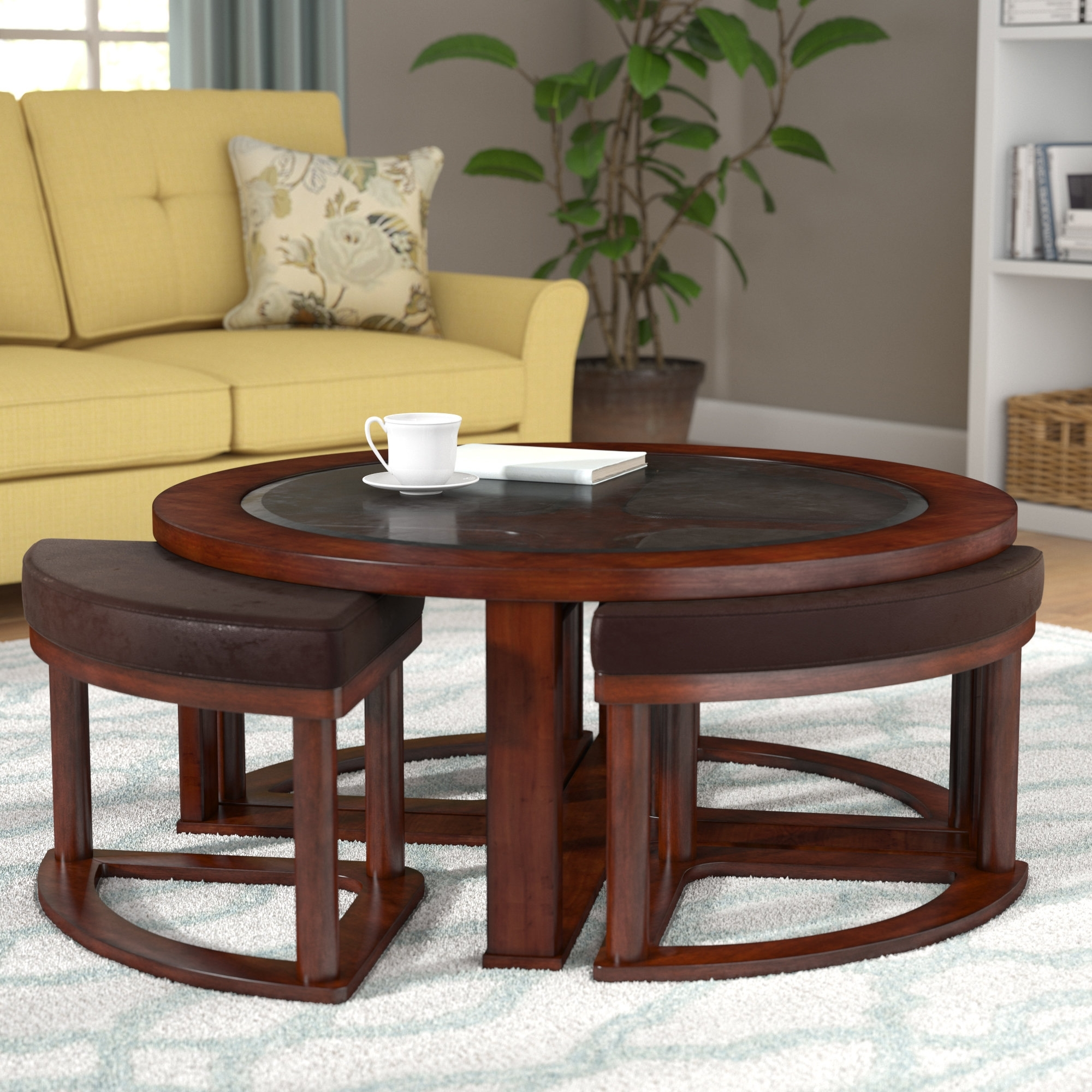 Darby Home Co Eastin Coffee Table With Nested Stools & Reviews (View 17 of 20)