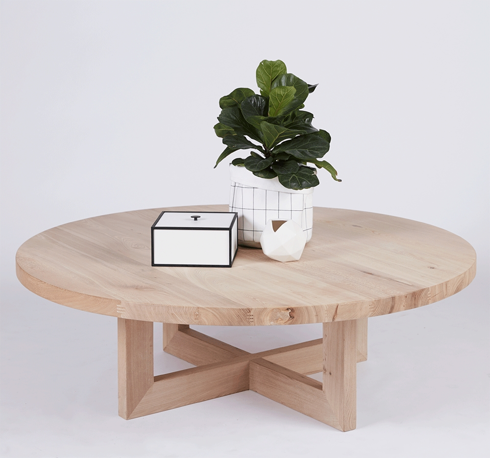 Designer Bondi Round Oak Coffee Table – Solid Timber Accent Tables Regarding Famous Lassen Square Lift Top Cocktail Tables (View 6 of 20)
