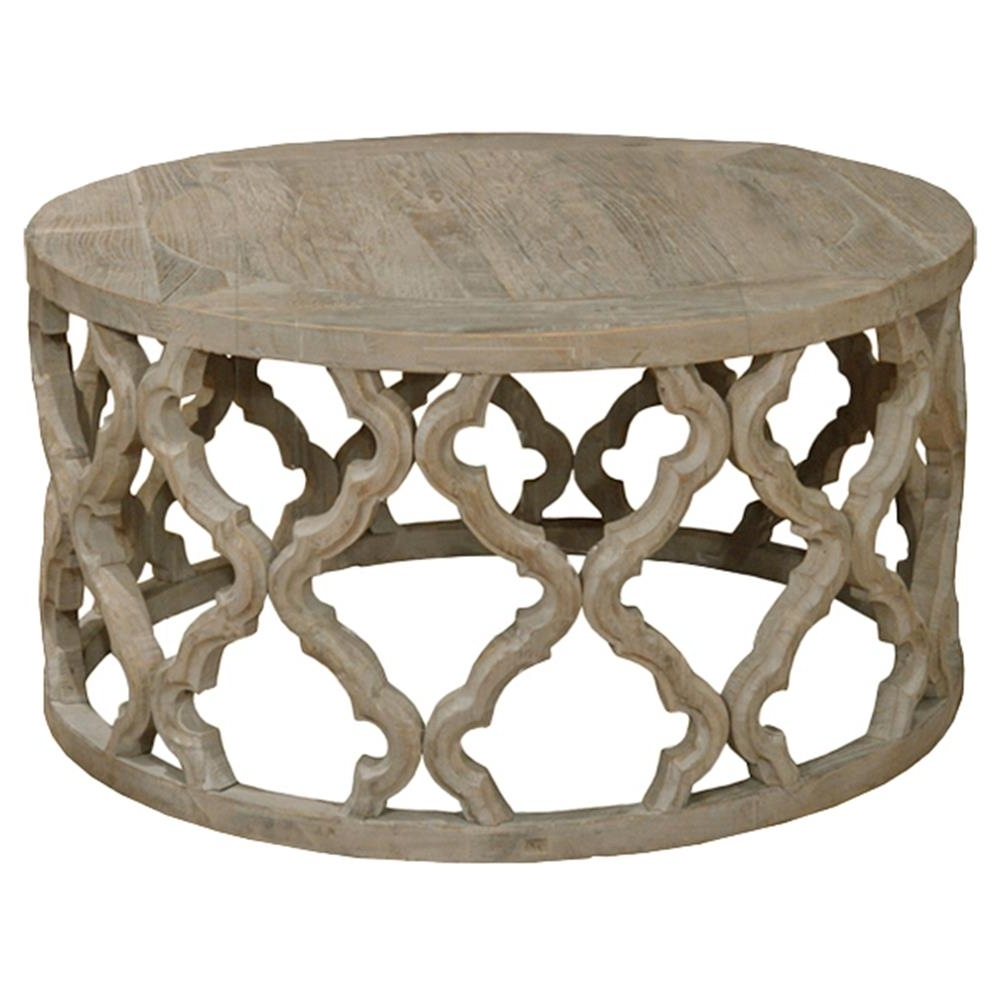 Dionne French Rustic Round Reclaimed Elm Carved Coffee Table With Regard To Current Round Carved Wood Coffee Tables (View 4 of 20)