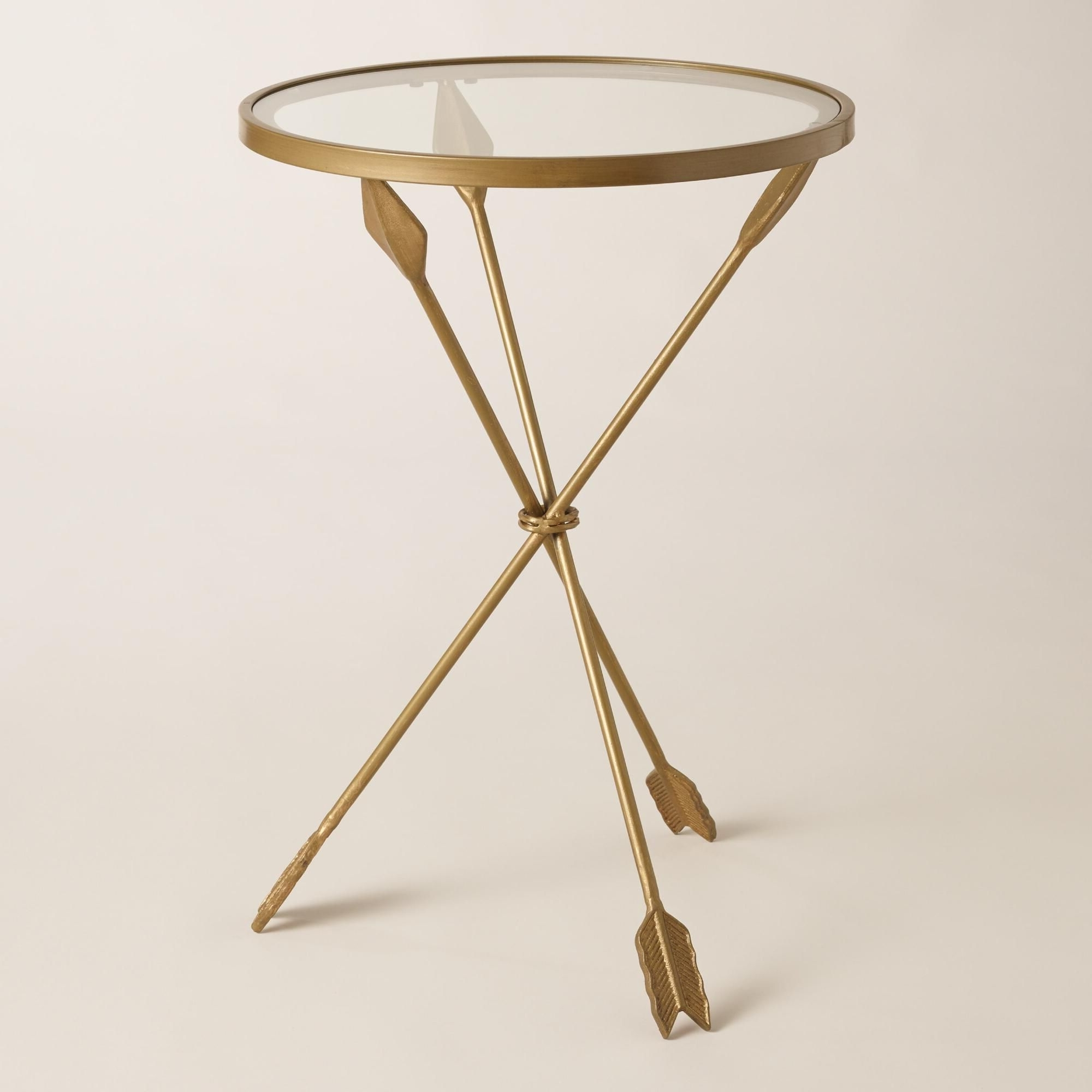 Distressed Gold Arrows Create The Tripod Base Of Our Side Table, A With 2018 Jackson Marble Side Tables (View 11 of 20)