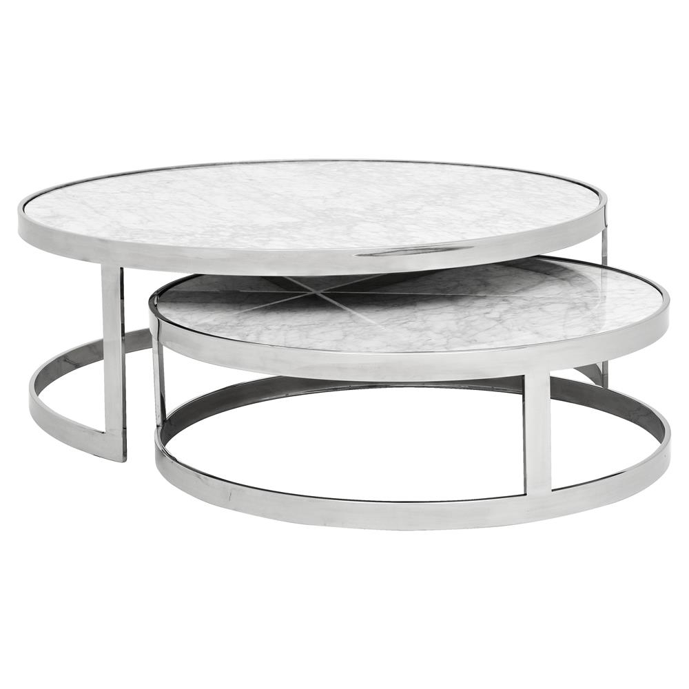 Eichholtz Fletcher Modern Classic White Marble Top Round Nesting With Regard To Latest Smart Round Marble Top Coffee Tables (View 8 of 20)