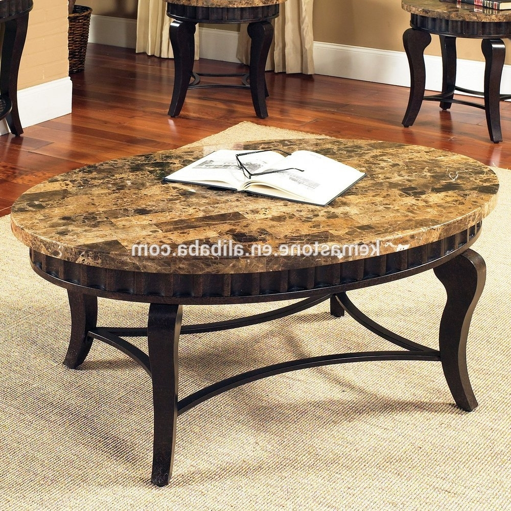 Emperador Dark Marble Oval Stone Top Coffee Table – Buy Oval Stone Intended For Favorite Stone Top Coffee Tables (Gallery 5 of 20)